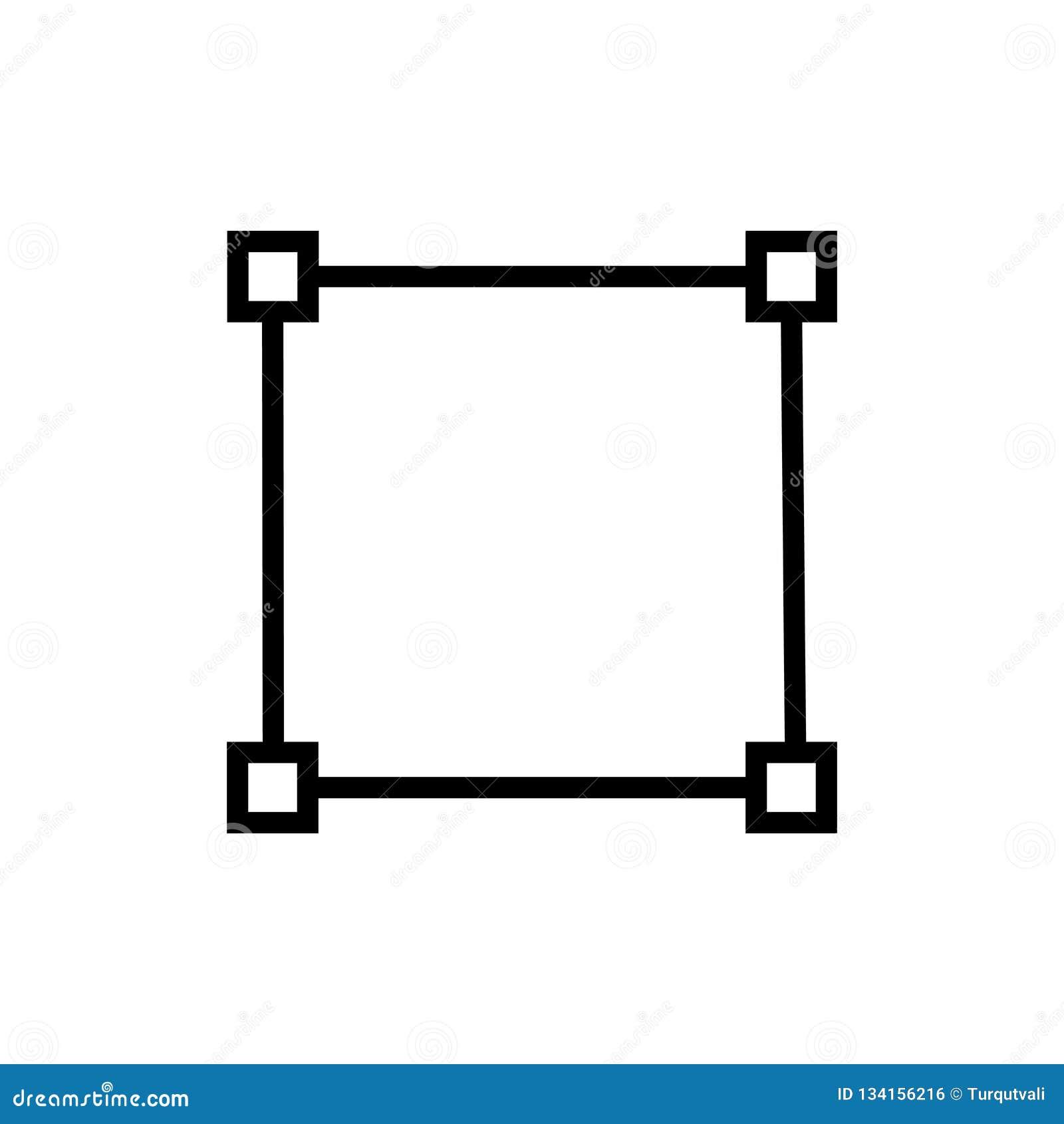 Vetor quadrado do ícone isolado no fundo branco, em elementos quadrados do sinal, da linha e do esboço no estilo linear