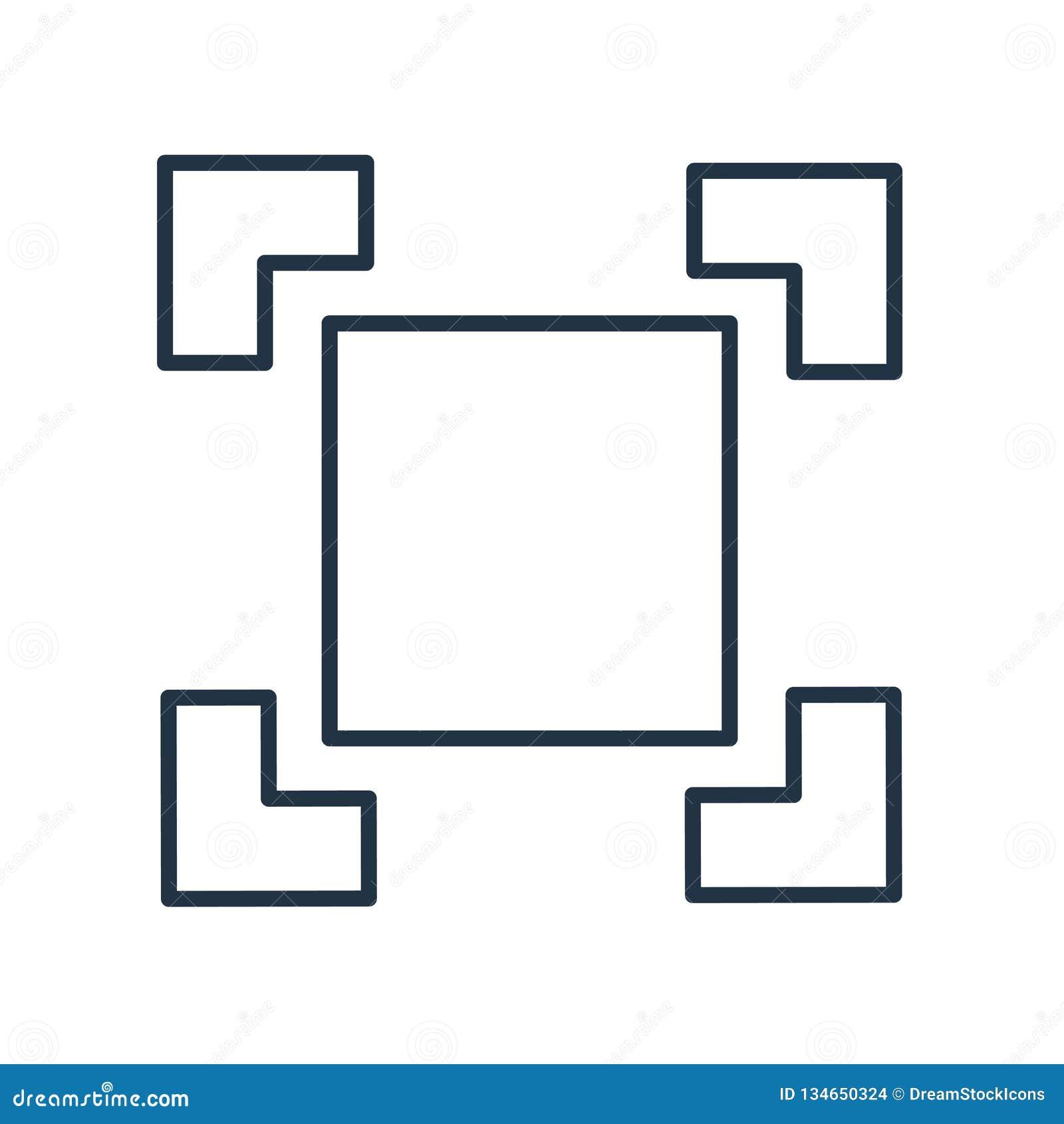 Vetor quadrado do ícone isolado no fundo branco, sinal quadrado