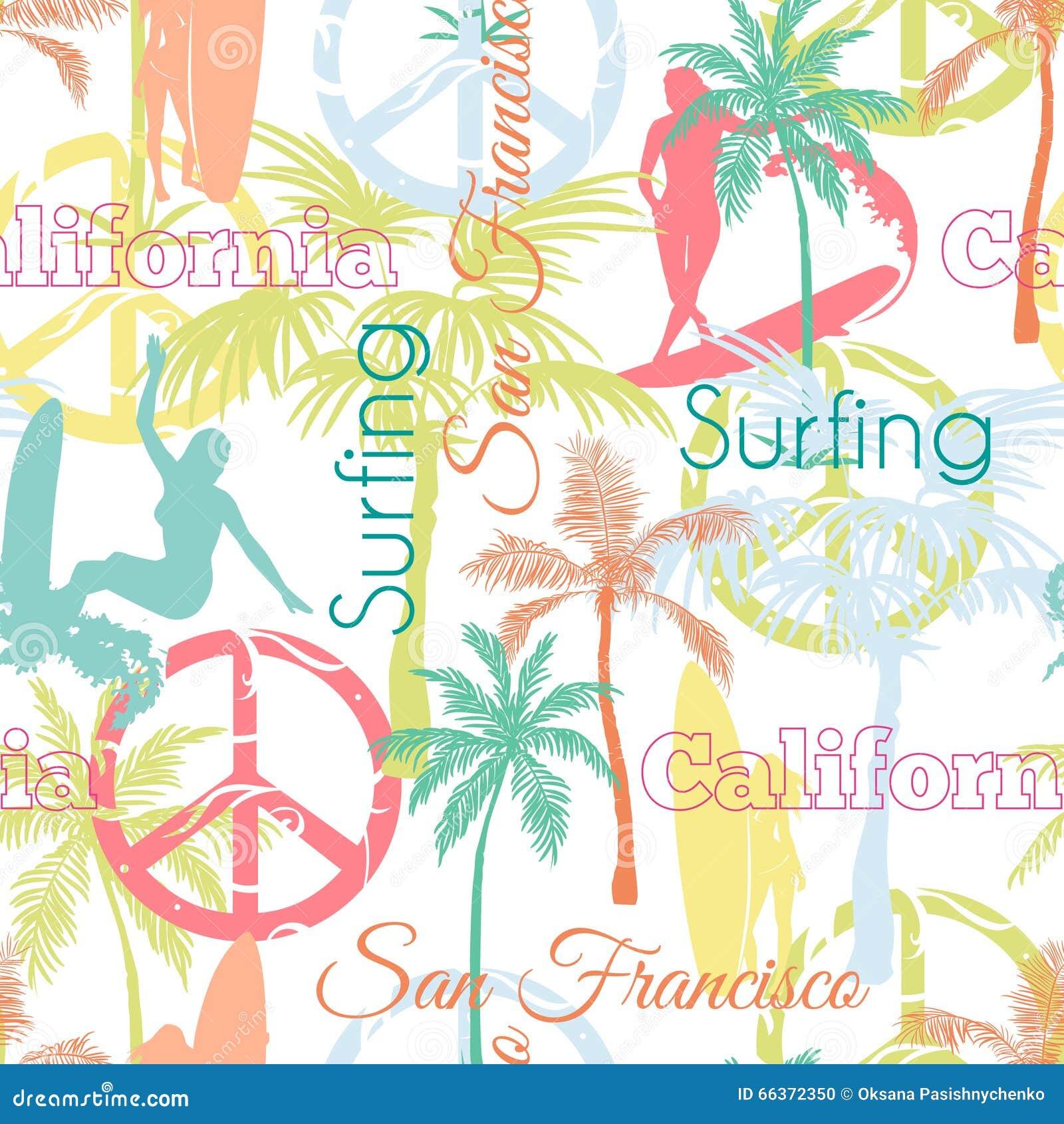 Vetor que surfa o projeto de Califórnia San Francisco Colorful Seamless Pattern Surface com mulheres ativas, palmeiras, paz