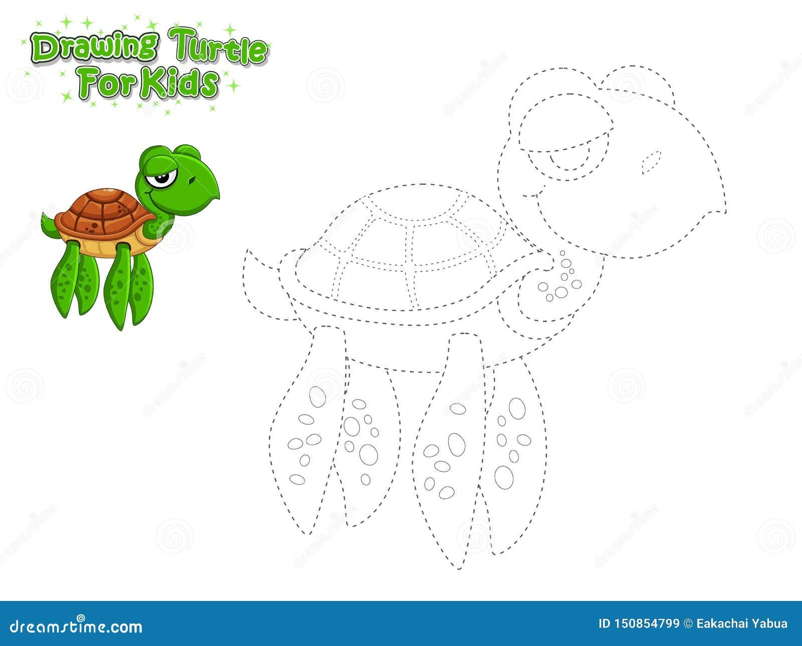 Vetor Que Tira E Para Pintar A Tartaruga Bonito Dos Desenhos
