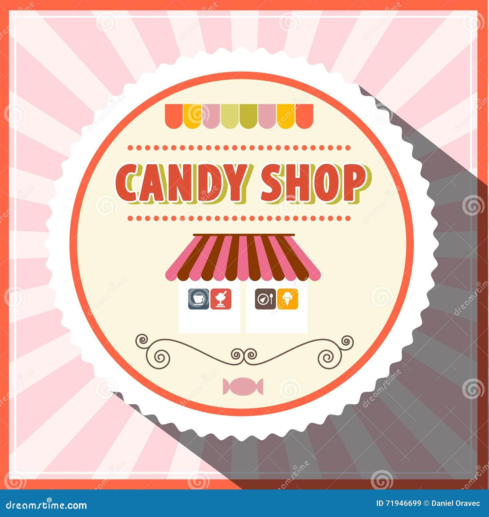 Vetor retro da loja dos doces