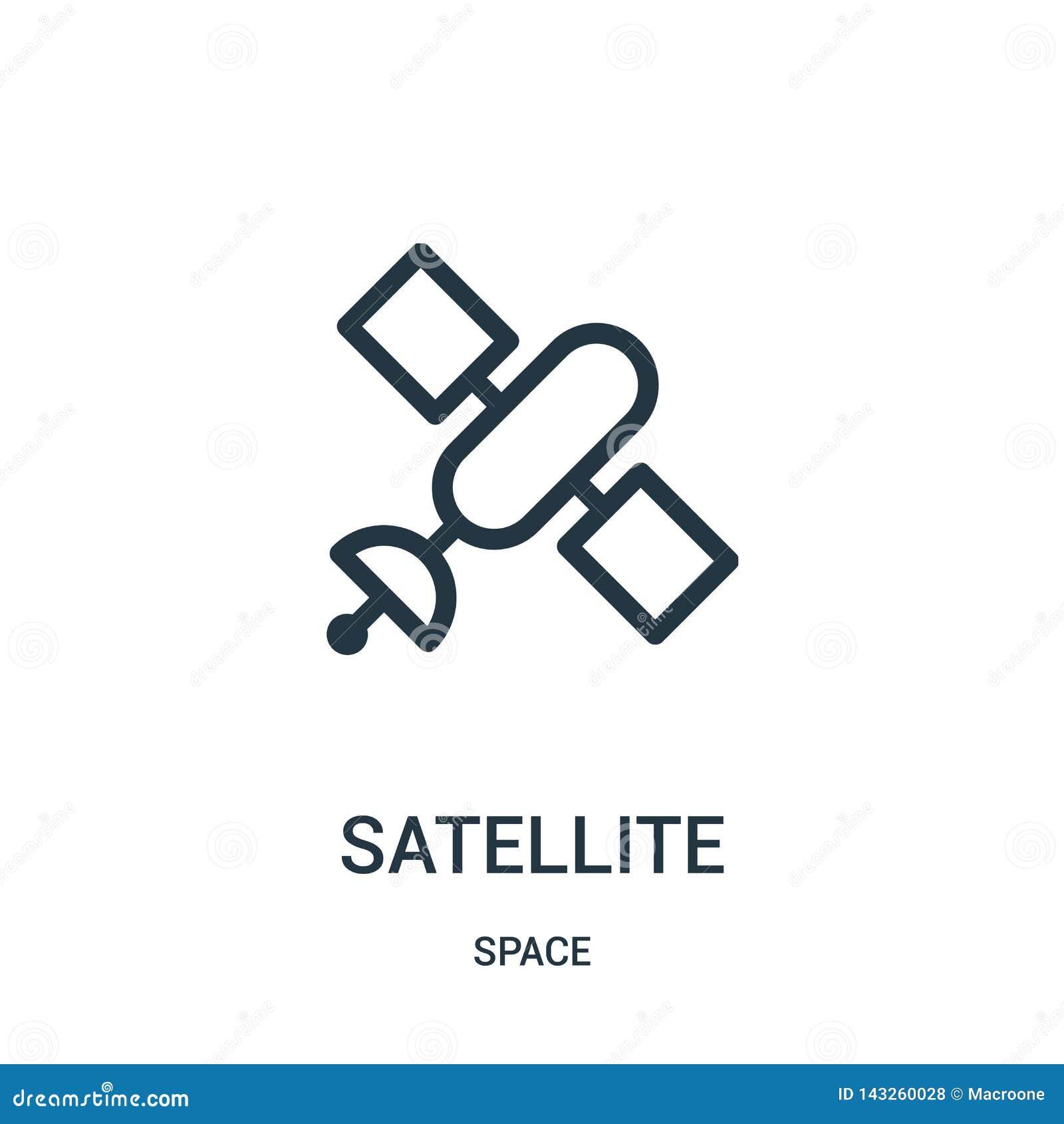 Vetor satélite do ícone da coleção do espaço Linha fina ilustração satélite do vetor do ícone do esboço