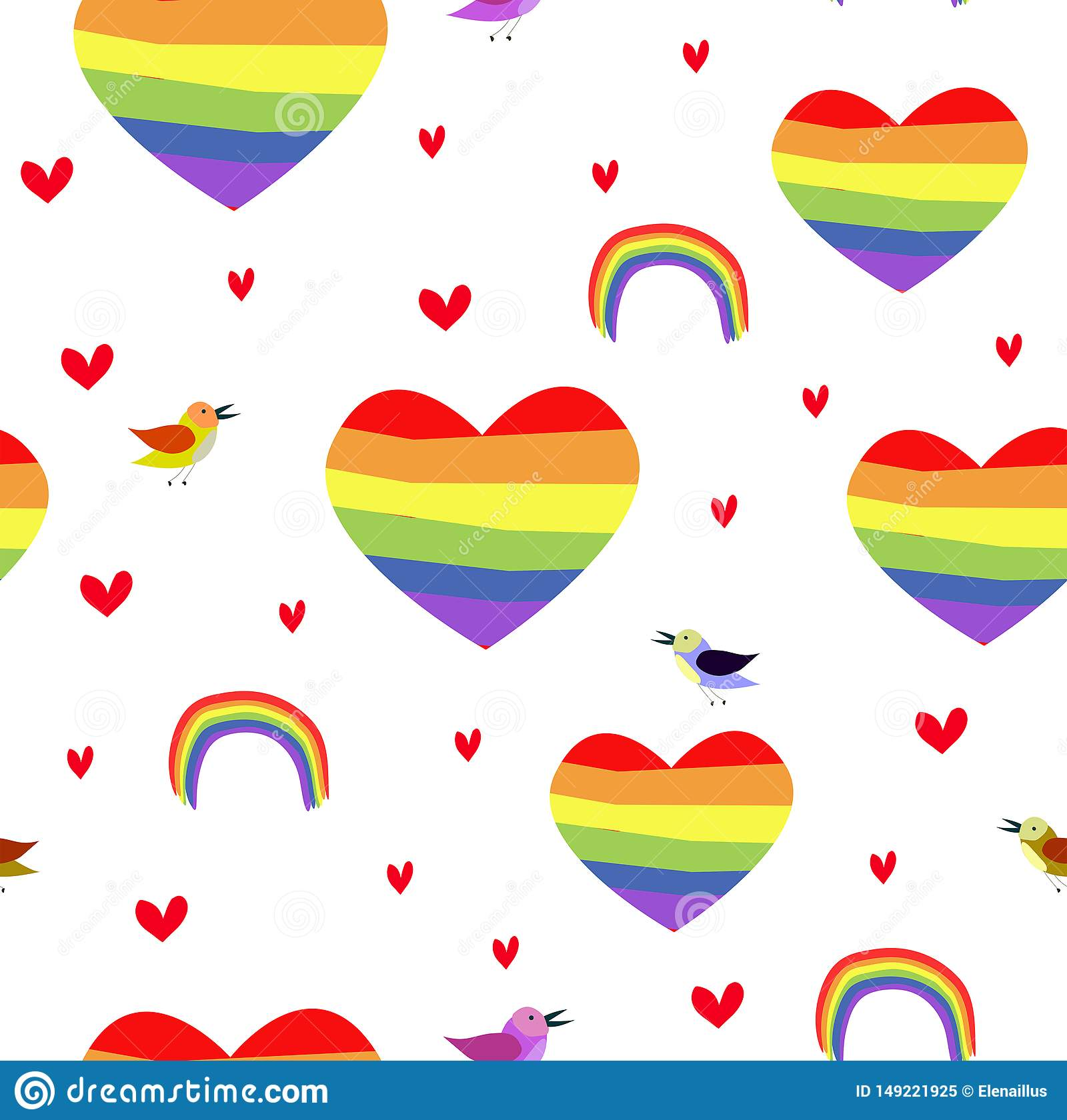 Vector seamless patttern with rainbow hearts. Pride day.