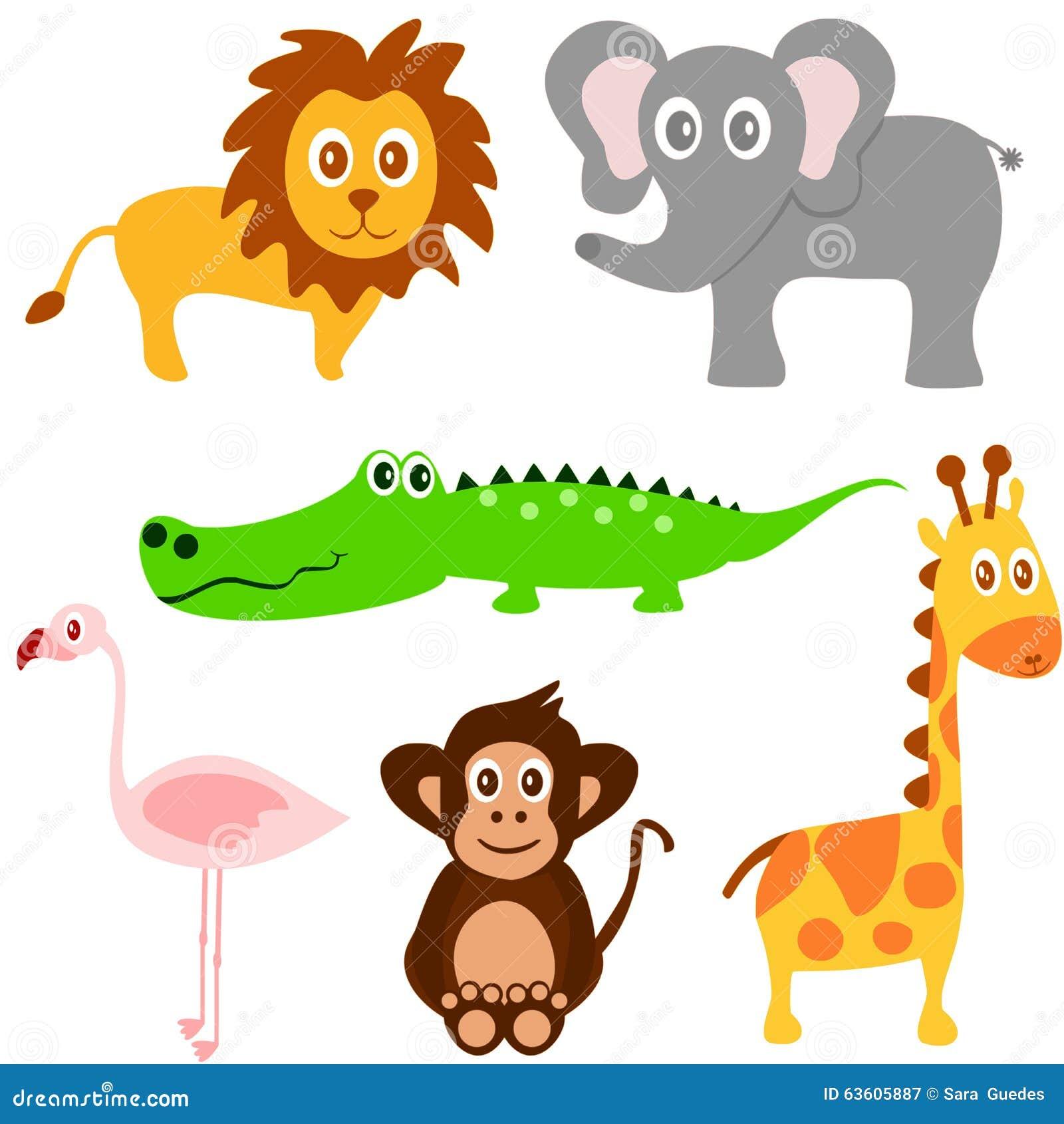 Cat Friendly Home Design Cute Safari Animals Set Hippo Rhino Lion Cartoon