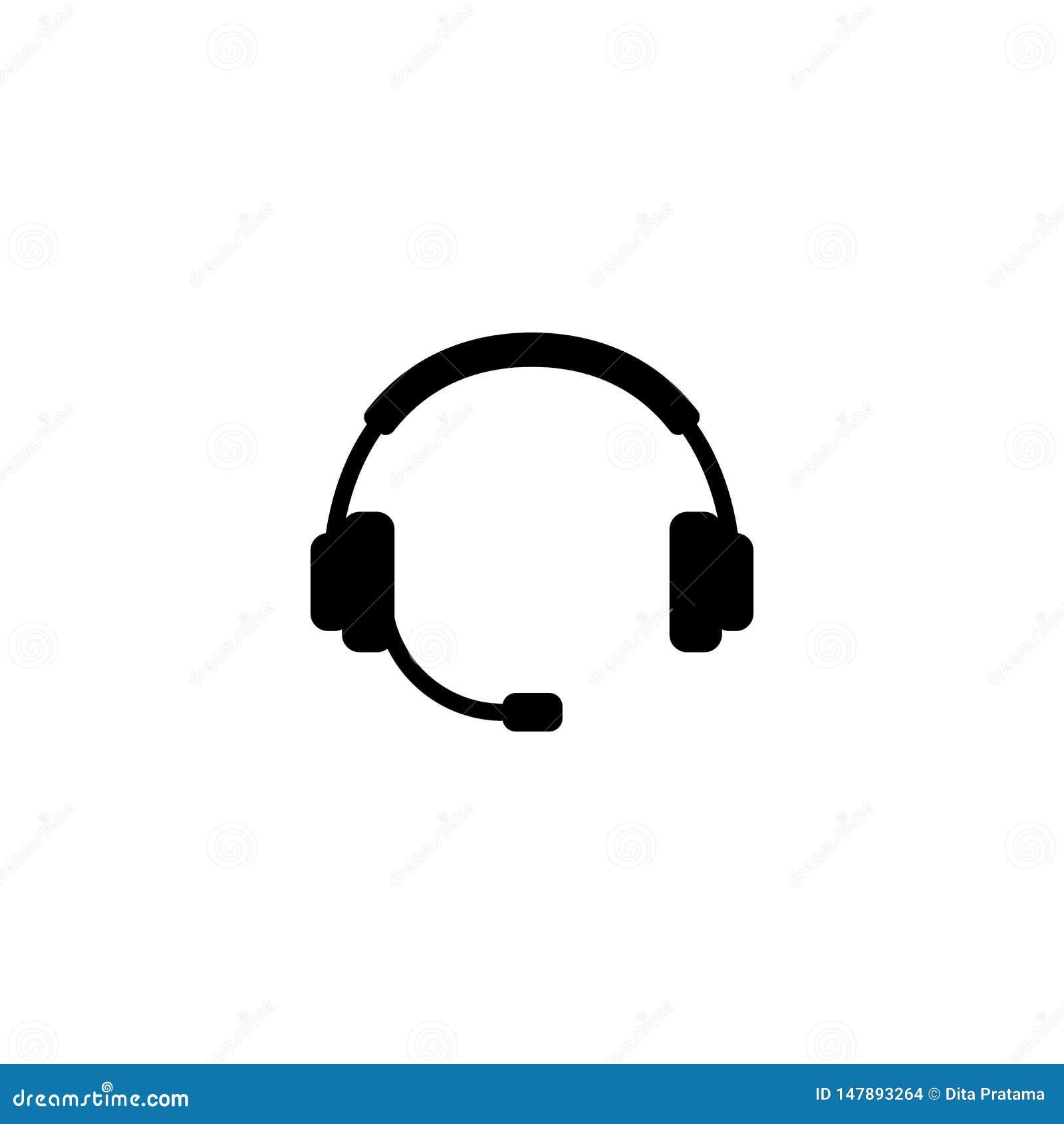 Vetor simples da silhueta do fones de ouvido