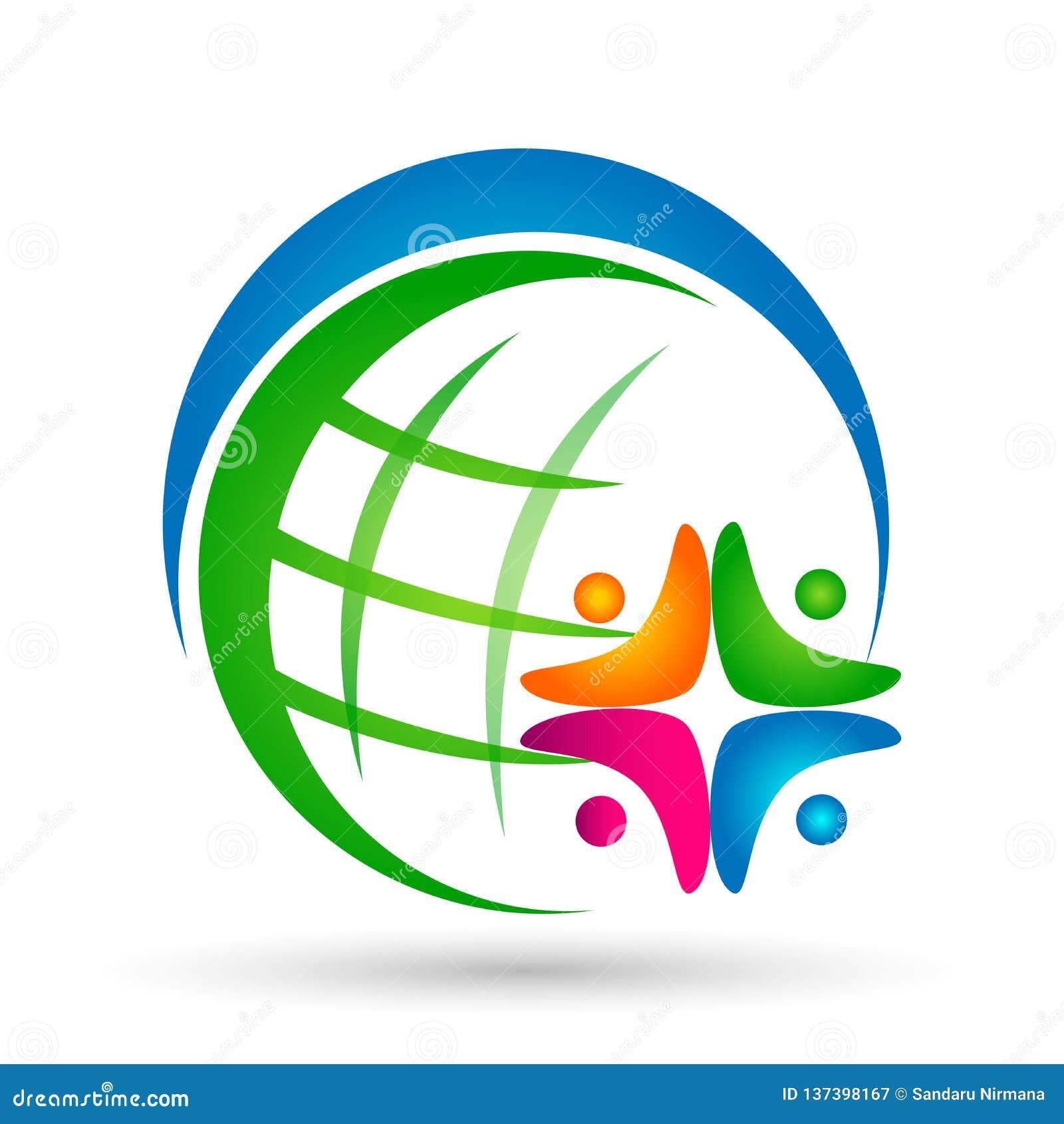 Vetor social do elemento do ícone do logotipo da comunidade do bem-estar do trabalho da equipe da união dos povos do mundo do glo