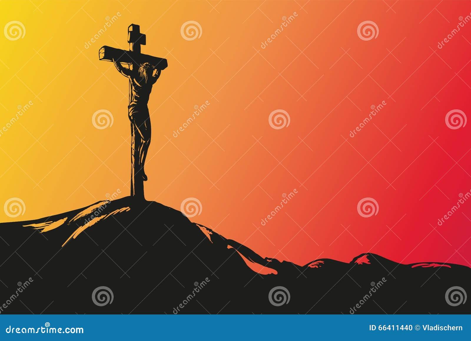 Vetor tirado mão de Jesus Christ Crucifixion