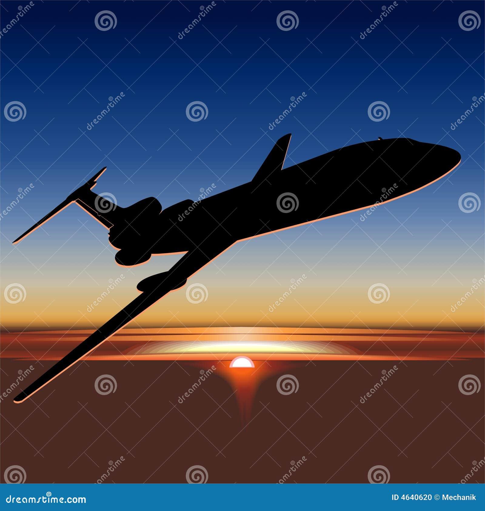 Vetor Tu-154 no nascer do sol