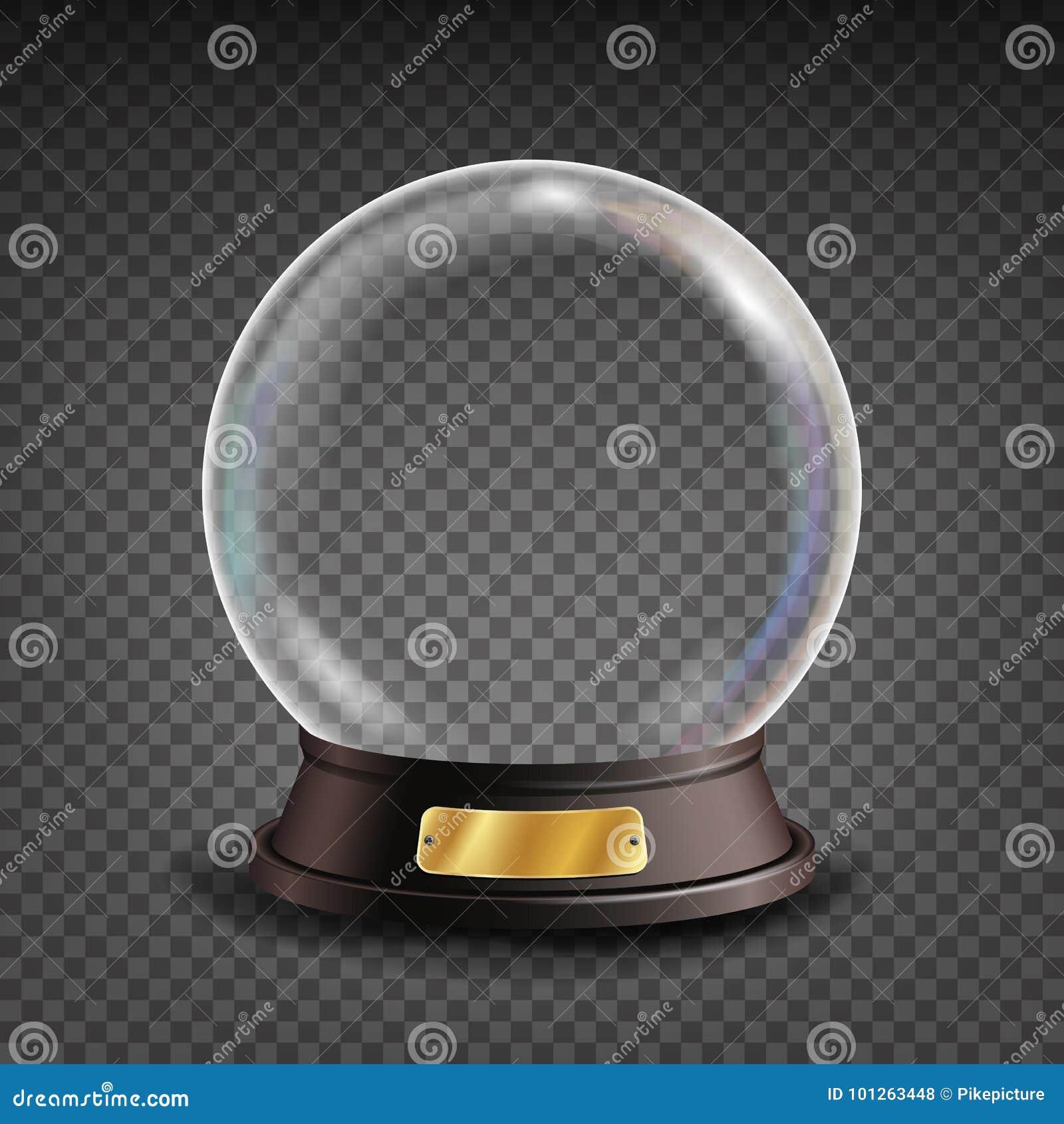 Vetor vazio do globo da neve Sombras, reflexão e luzes Esfera de vidro em um suporte Isolado no fundo transparente