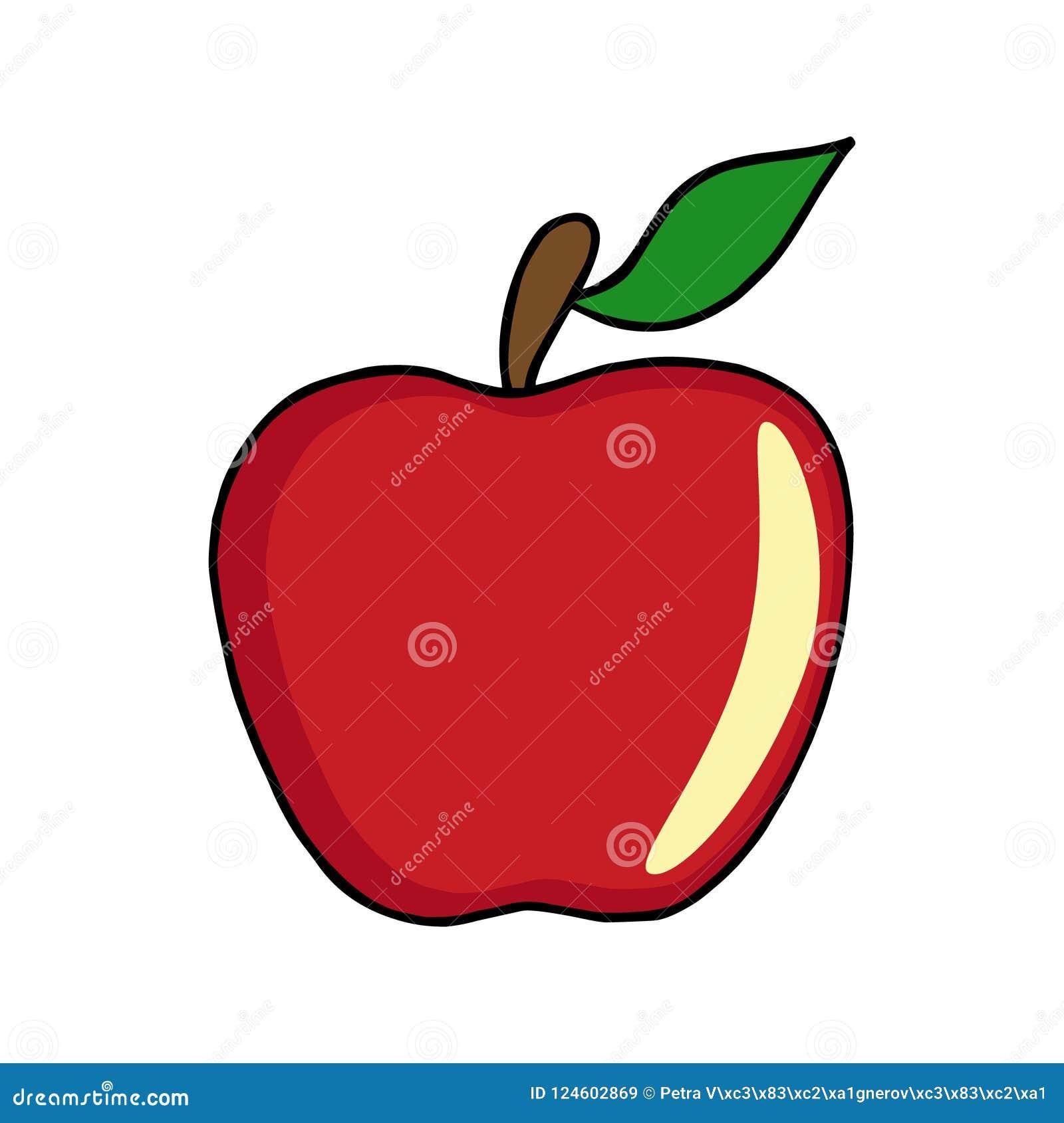 Vetor vermelho da ilustração da maçã no fundo branco