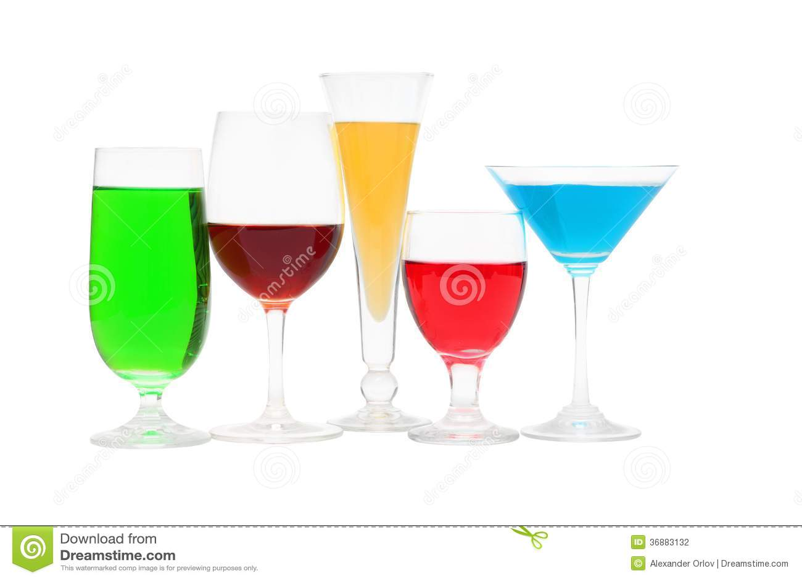 Download Vetri Con Un Liquido Differente Di Colore Fotografia Stock - Immagine di immagine, variazione: 36883132