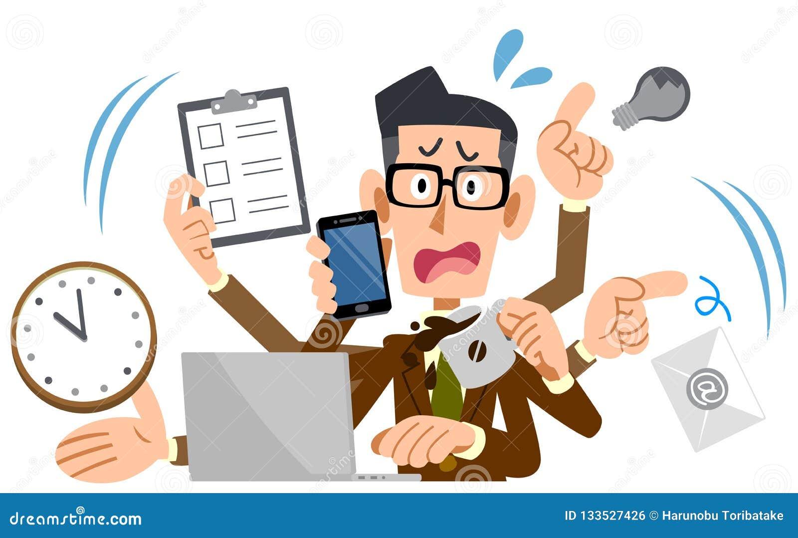 Vetri d uso e rivestimento di un uomo d affari lasciandosi prendere dal panico troppo occupati