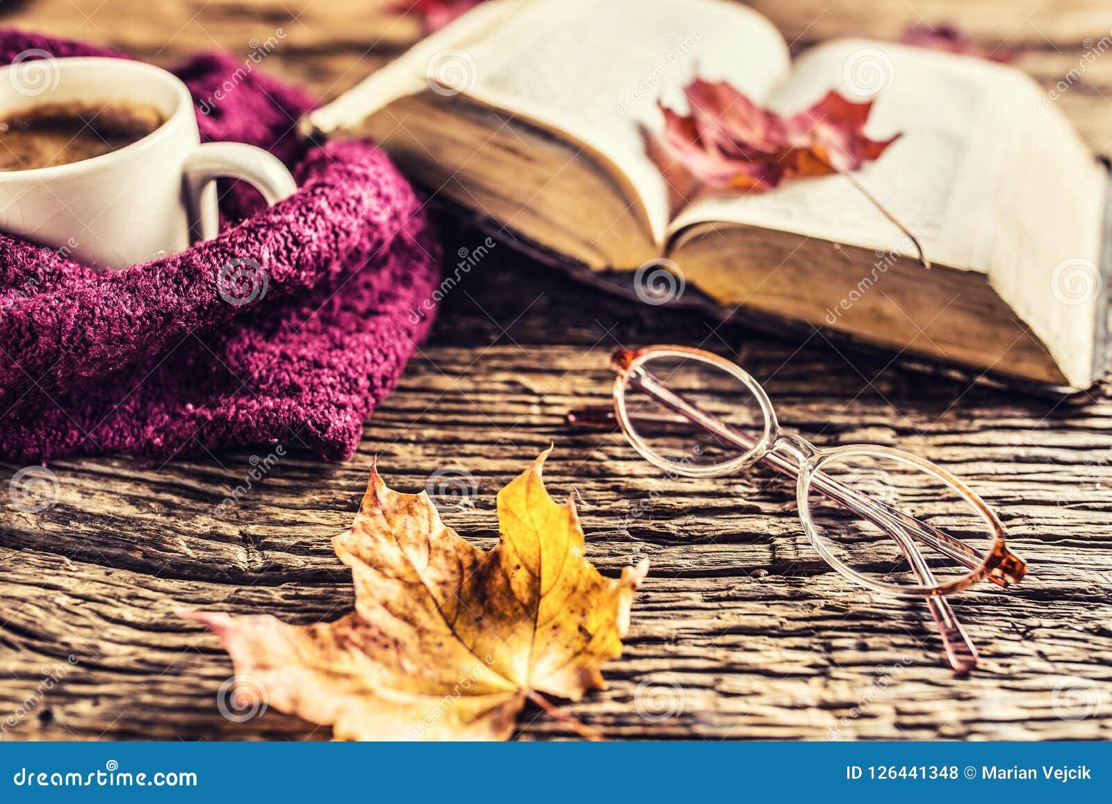 Vetri del vecchio libro della tazza di caffè e foglie di autunno