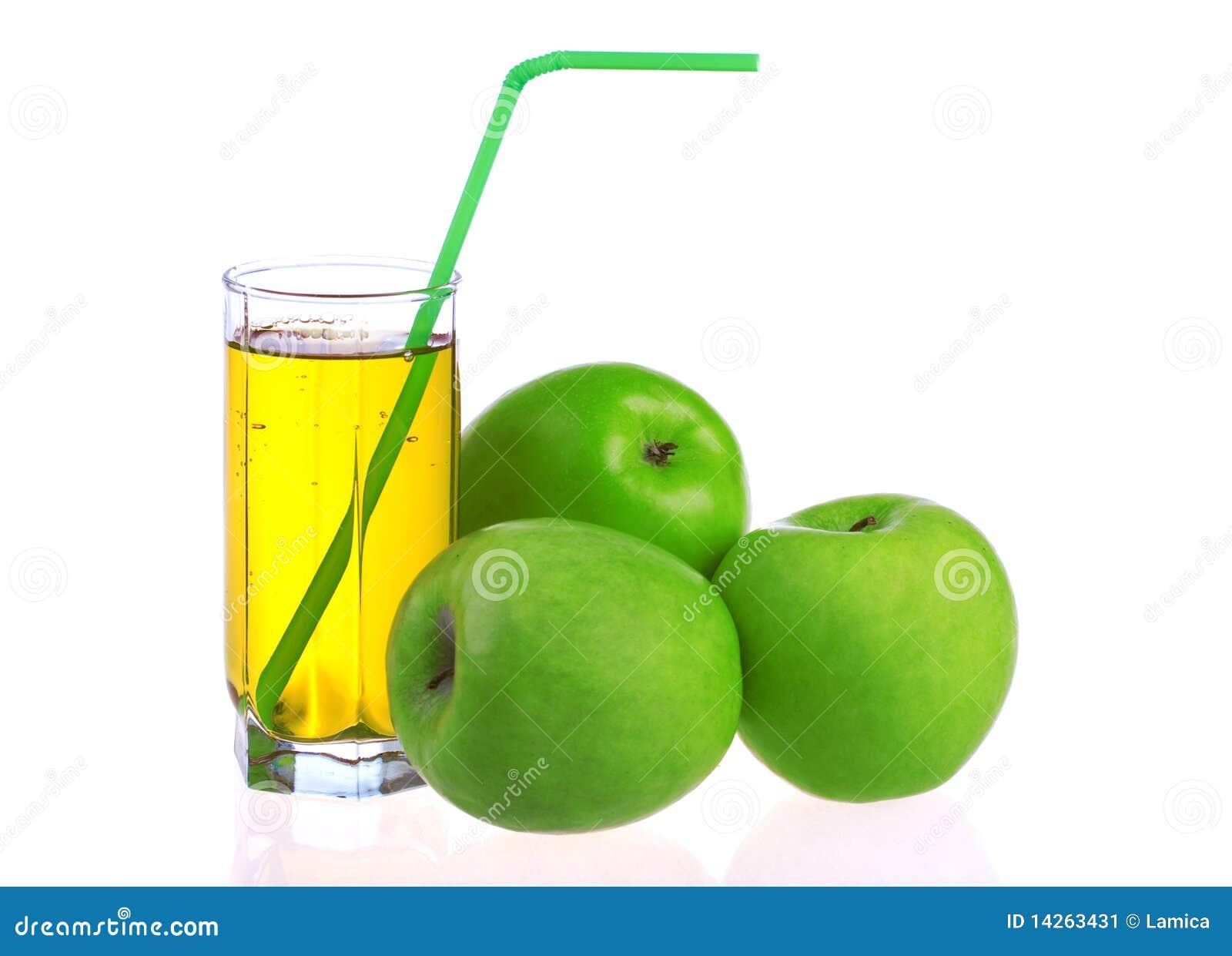 Vetro del succo di mele con le mele verdi