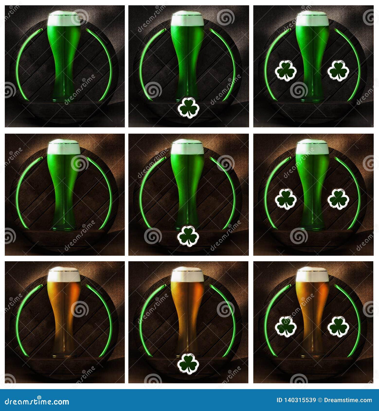 Vetro di birra del giorno di St Patrick sul legno e sui precedenti rustici