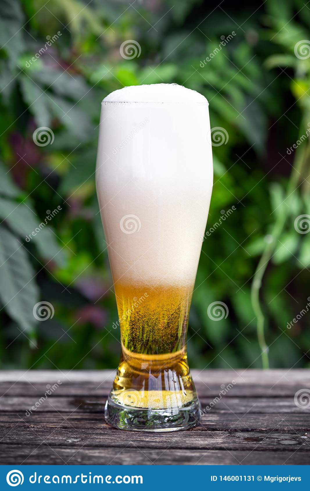 Vetro di birra fredda sulla tavola di legno in giardino con fondo verde