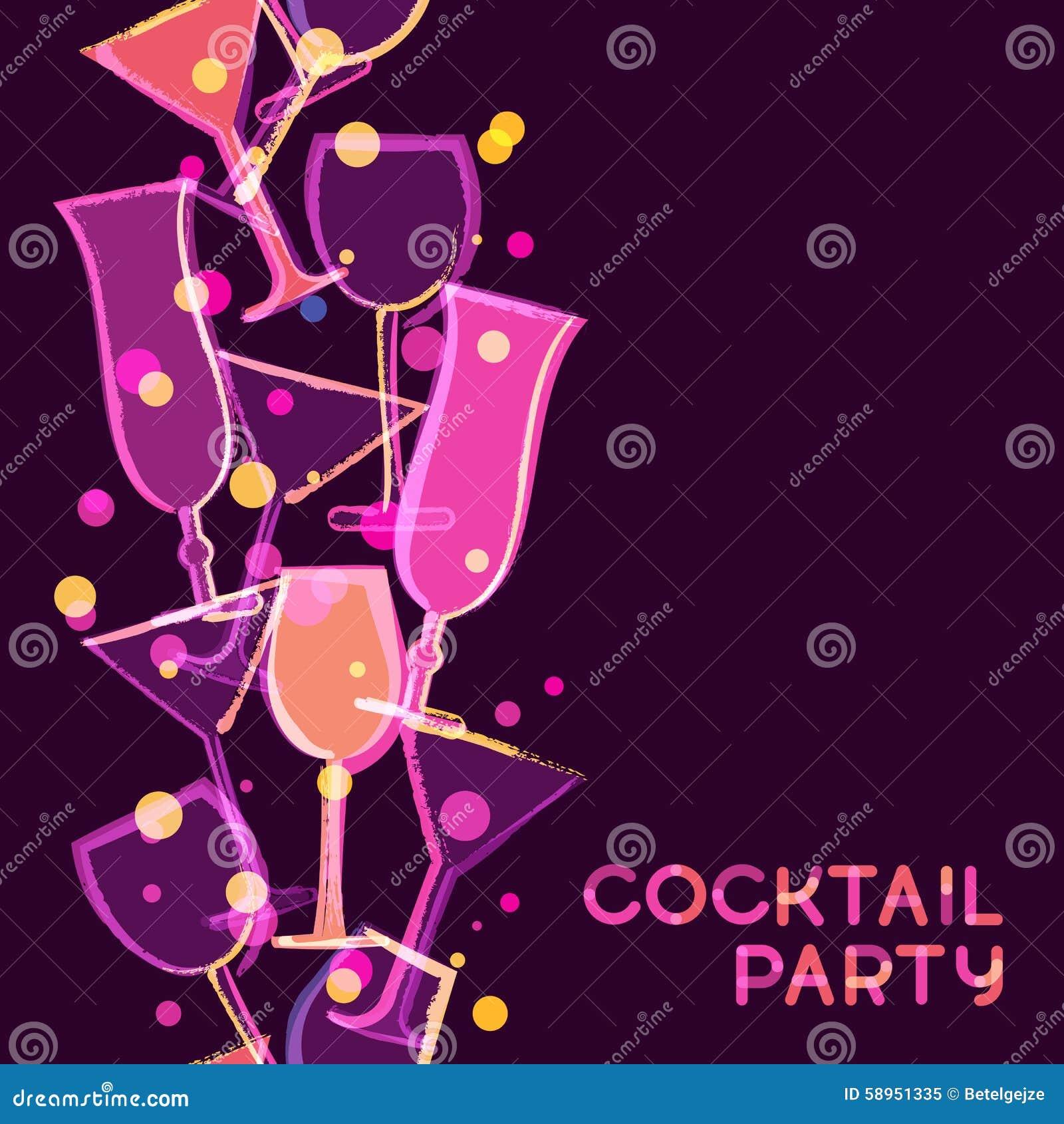 Vetro di cocktail d ardore multicolore astratto Se dell acquerello di vettore