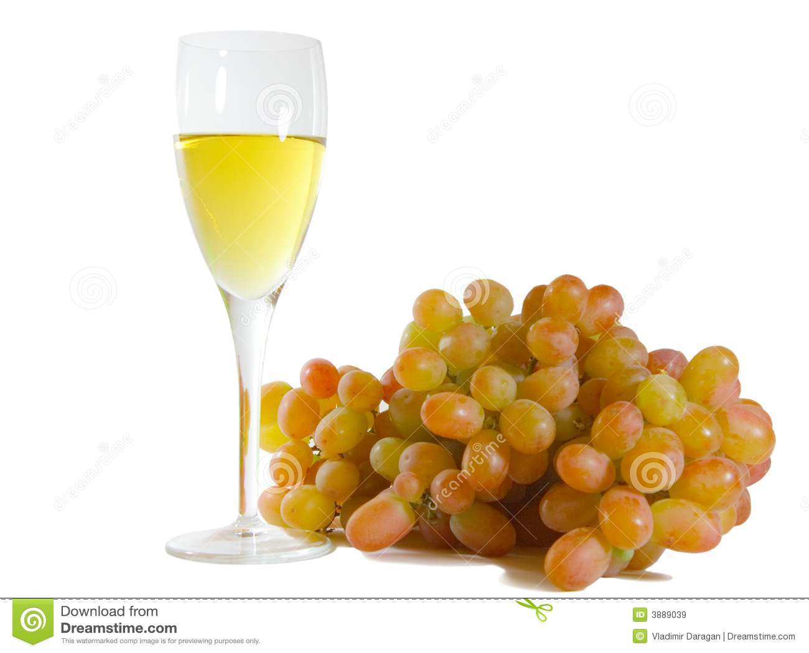 Vetro di vino bianco e dell uva