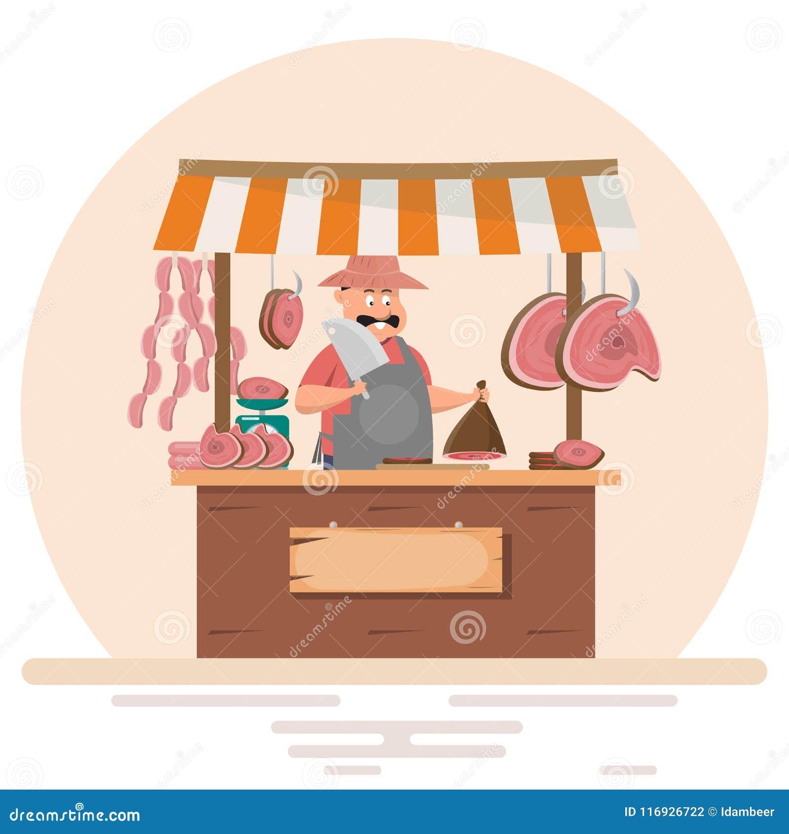 Vette mensenslager die vers vlees aanbieden bij varkenskoteletopslag