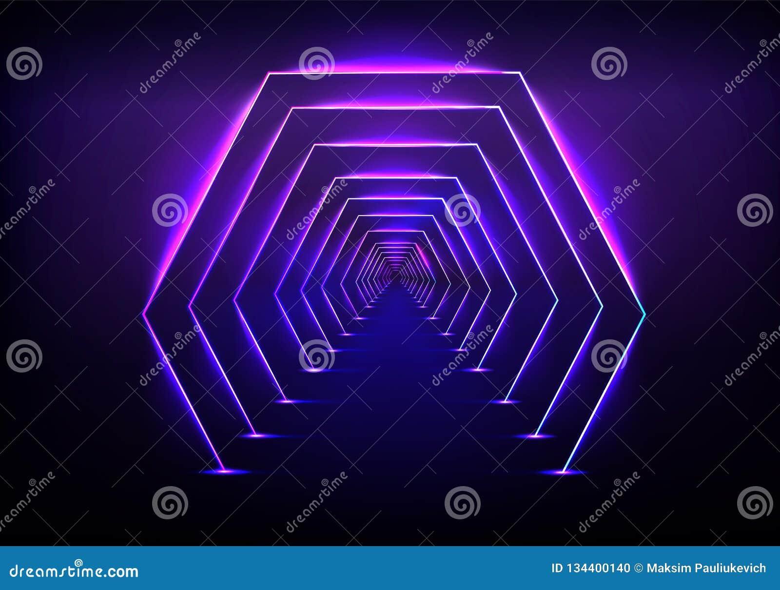 Vettore al neon d ardore di illuminazione del tunnel futuristico