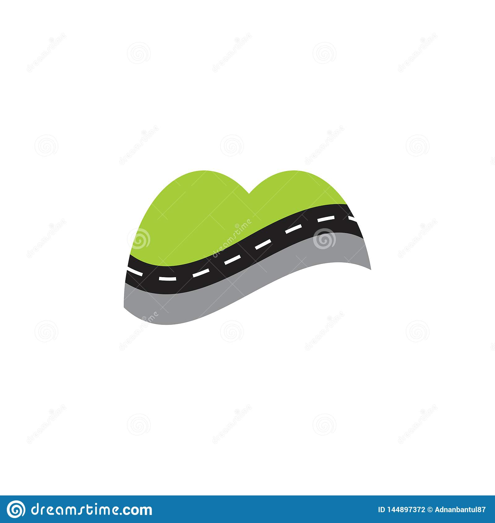 Vettore all aperto di logo di simbolo della via astratta della montagna