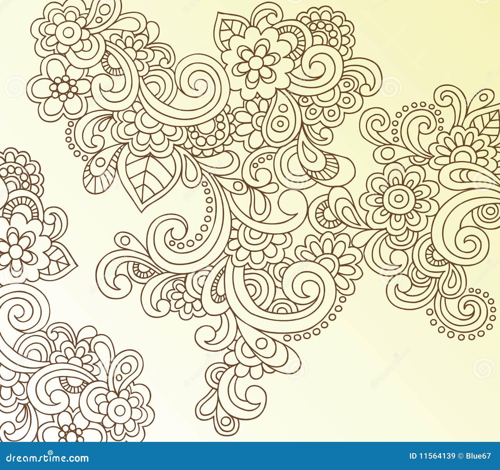 Vettore astratto di doodle del fiore di paisley del hennè