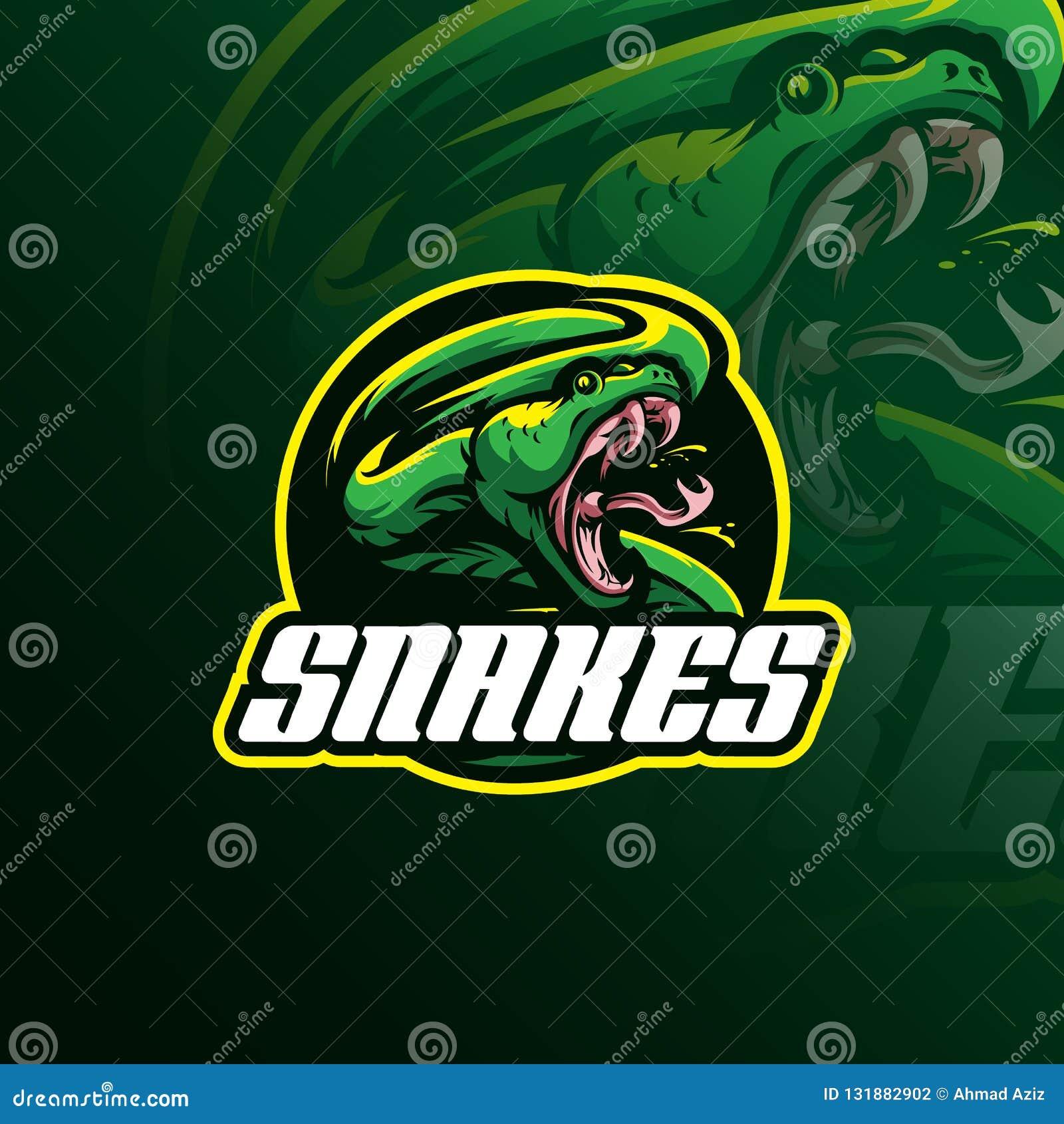 Vettore capo di progettazione di logo della mascotte del serpente con il concetto f dell emblema del distintivo