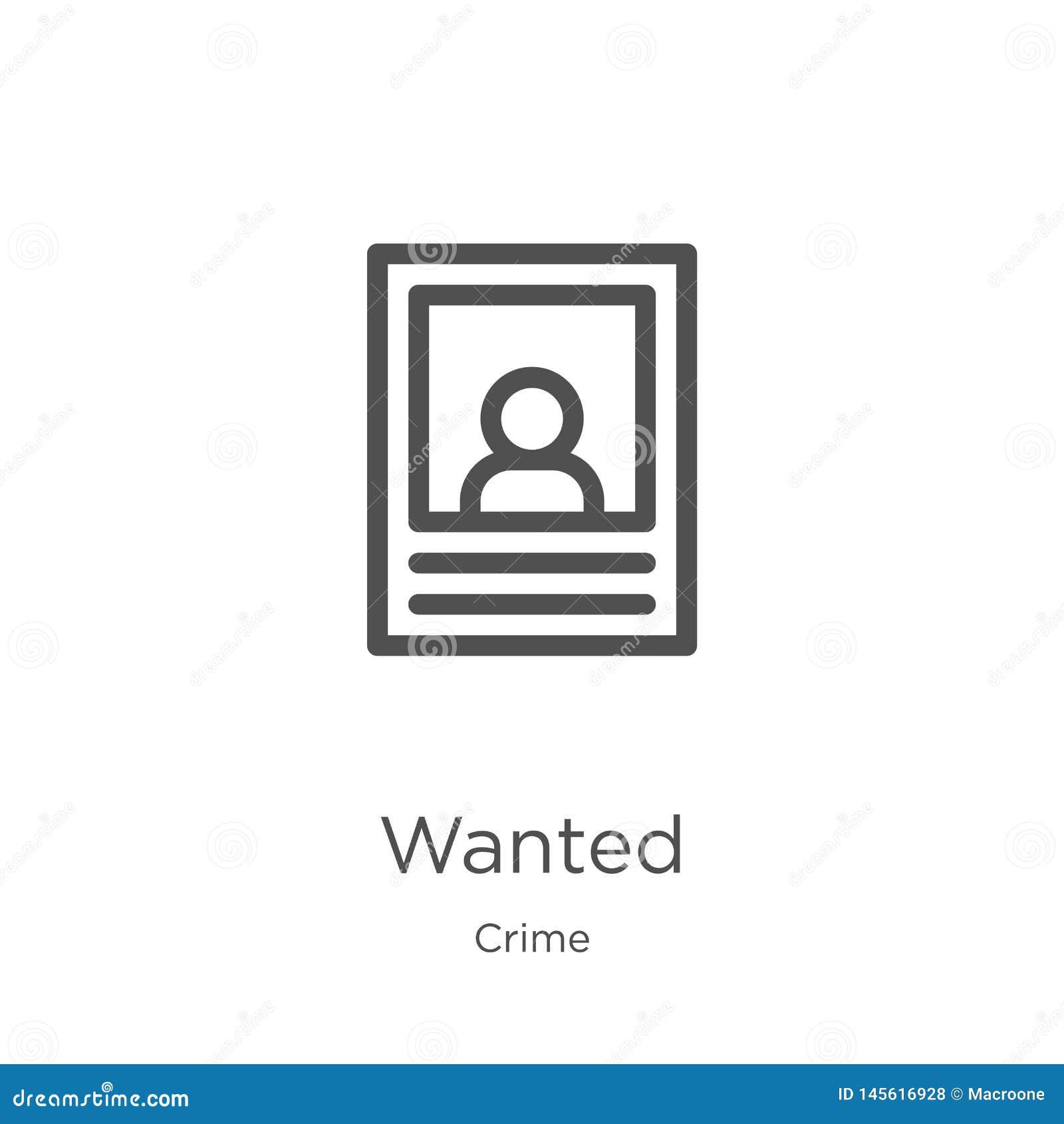 Vettore carente dell icona dalla raccolta di crimine La linea sottile ha voluto l illustrazione di vettore dell icona del profilo