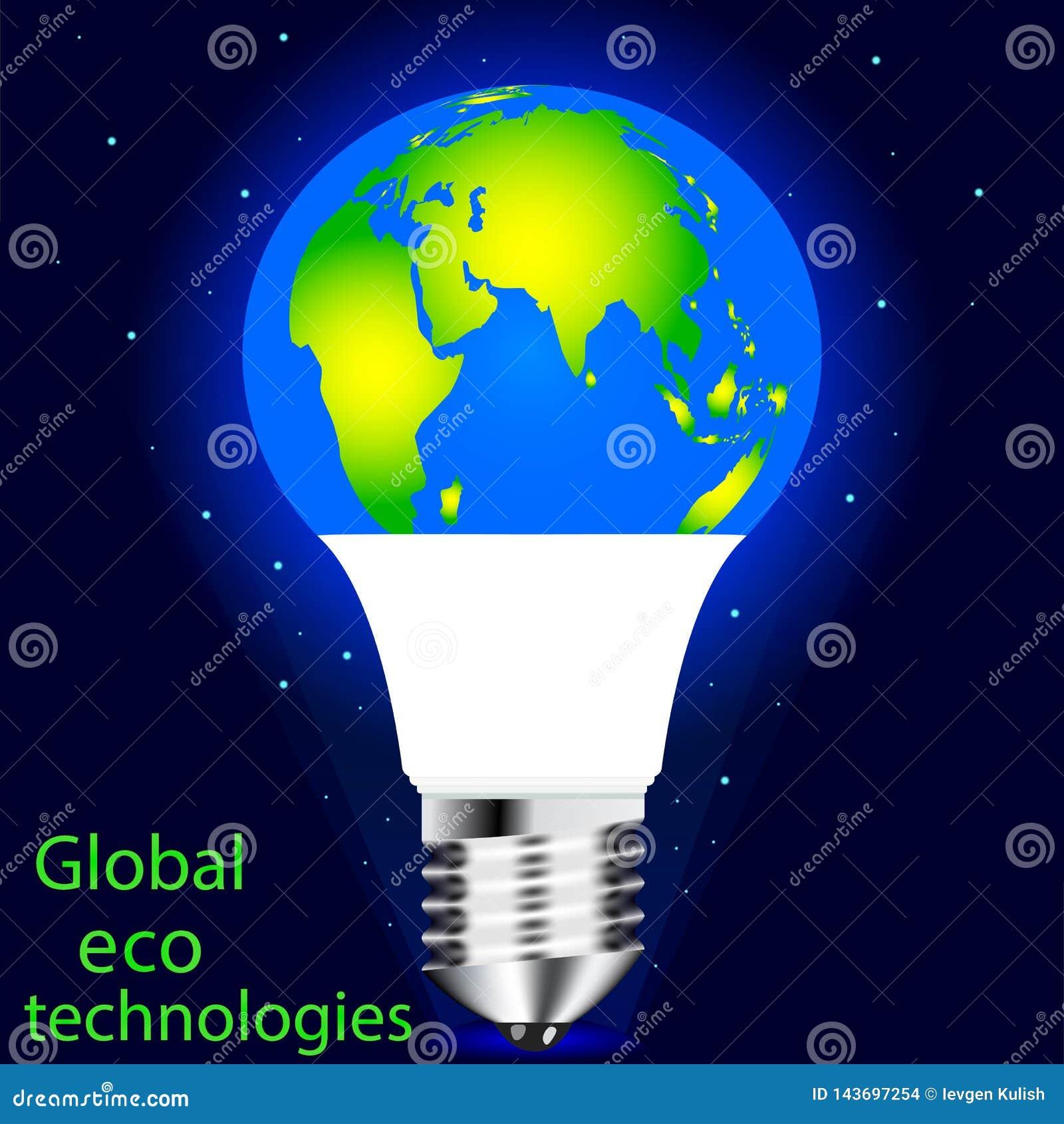 Vettore che estrae la lampada del LED Conservazione del mondo di eco, della natura di risparmio e dell ambiente
