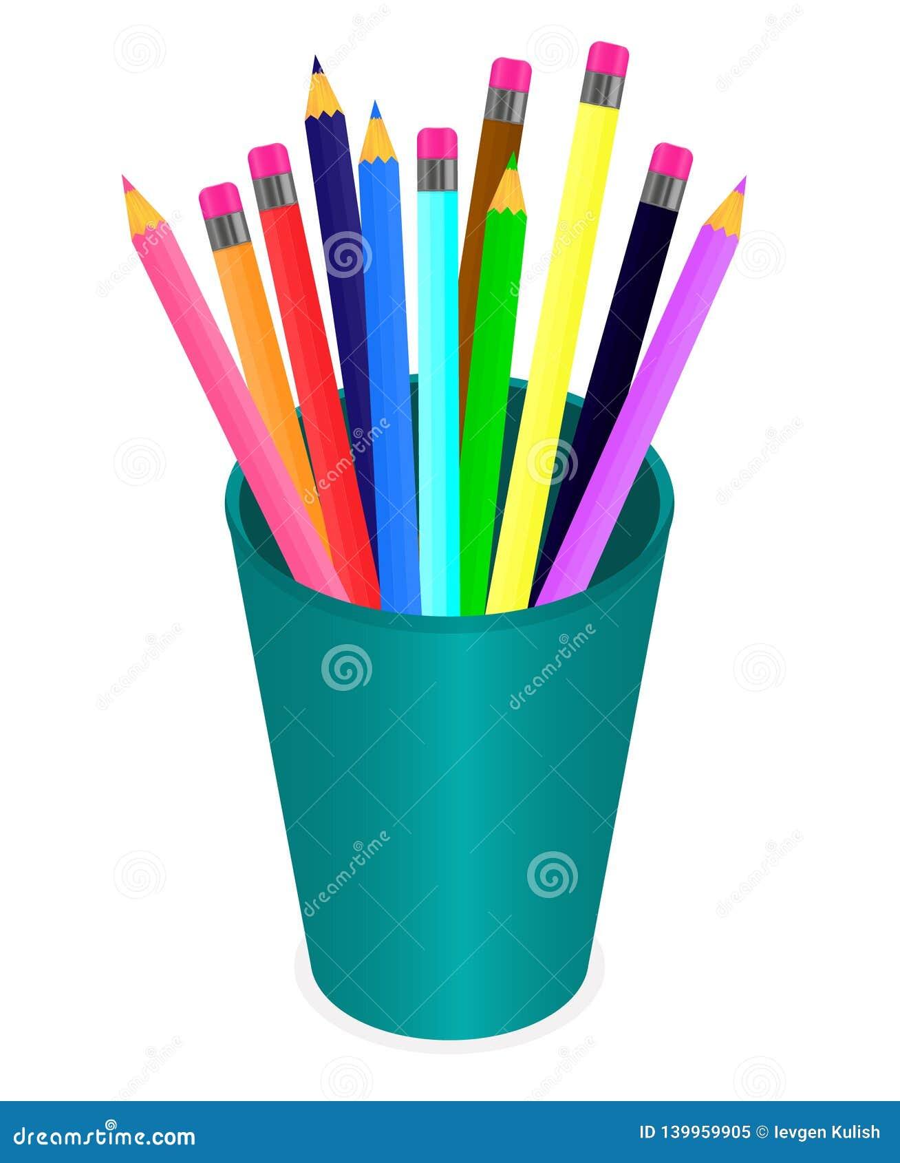 Vettore che estrae un insieme delle matite colorate multi nell organizzatore su un fondo bianco