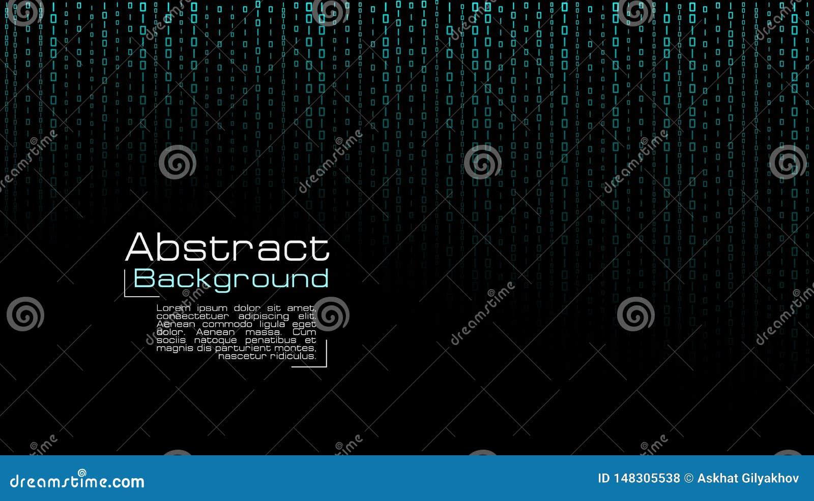 Vettore che scorre codice binario blu su fondo nero
