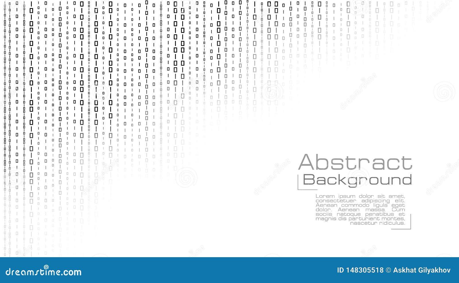 Vettore che scorre codice binario su fondo bianco