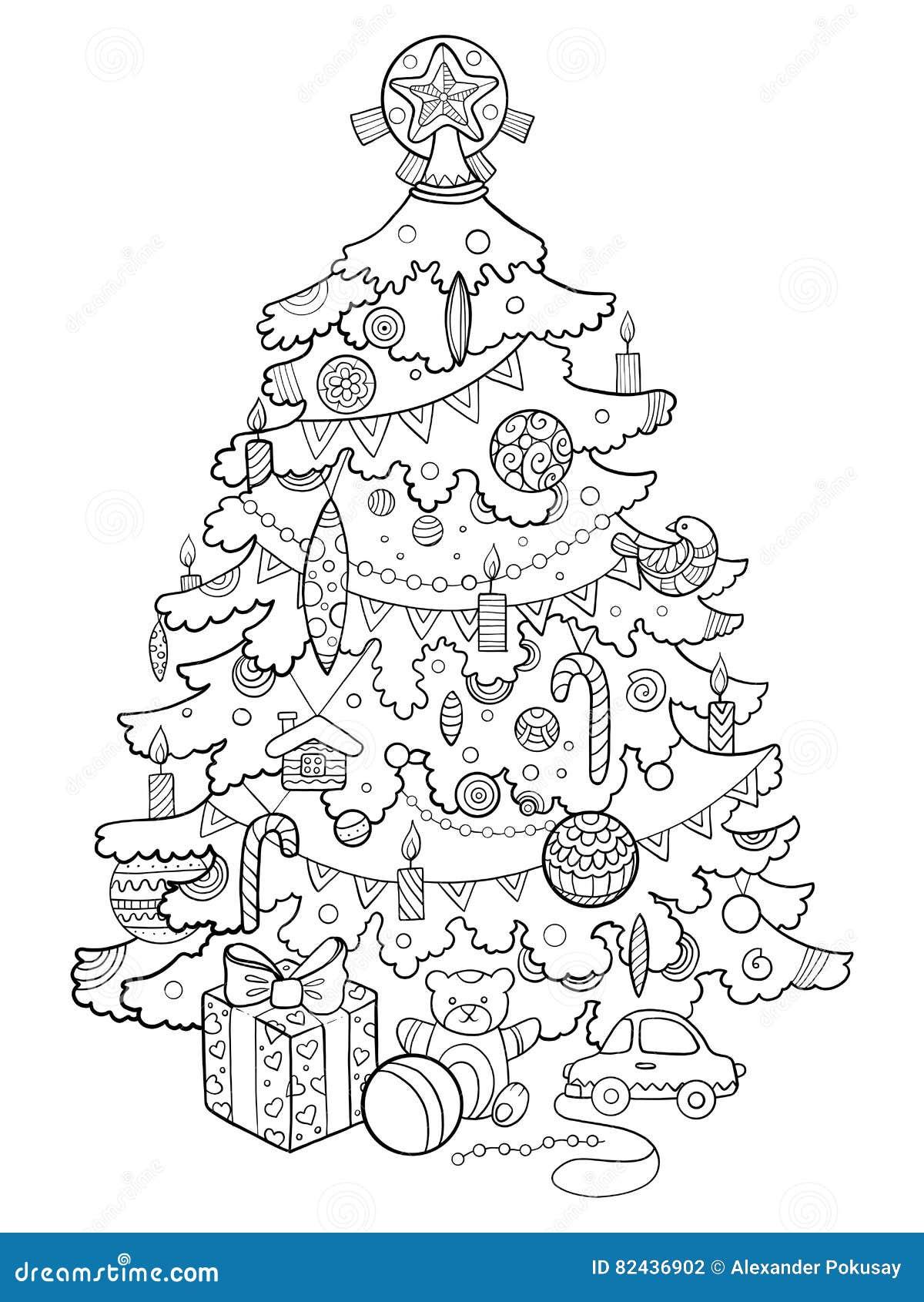 Immagini Dell Albero Di Natale Da Colorare.Vettore Del Libro Da Colorare Del Fumetto Dell Albero Di