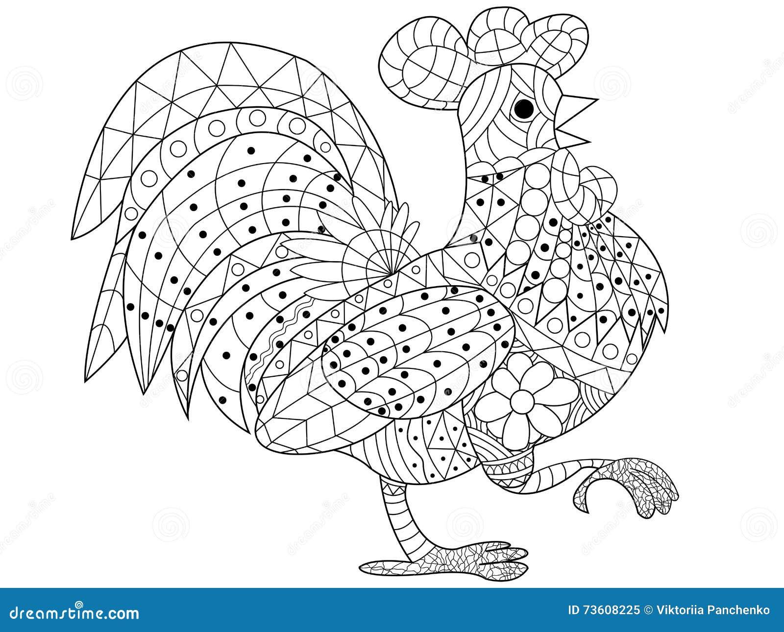 Pagine Da Colorare Per Adulti Libro Modello Astratto: Vettore Del Libro Da Colorare Del Gallo Per Gli Adulti