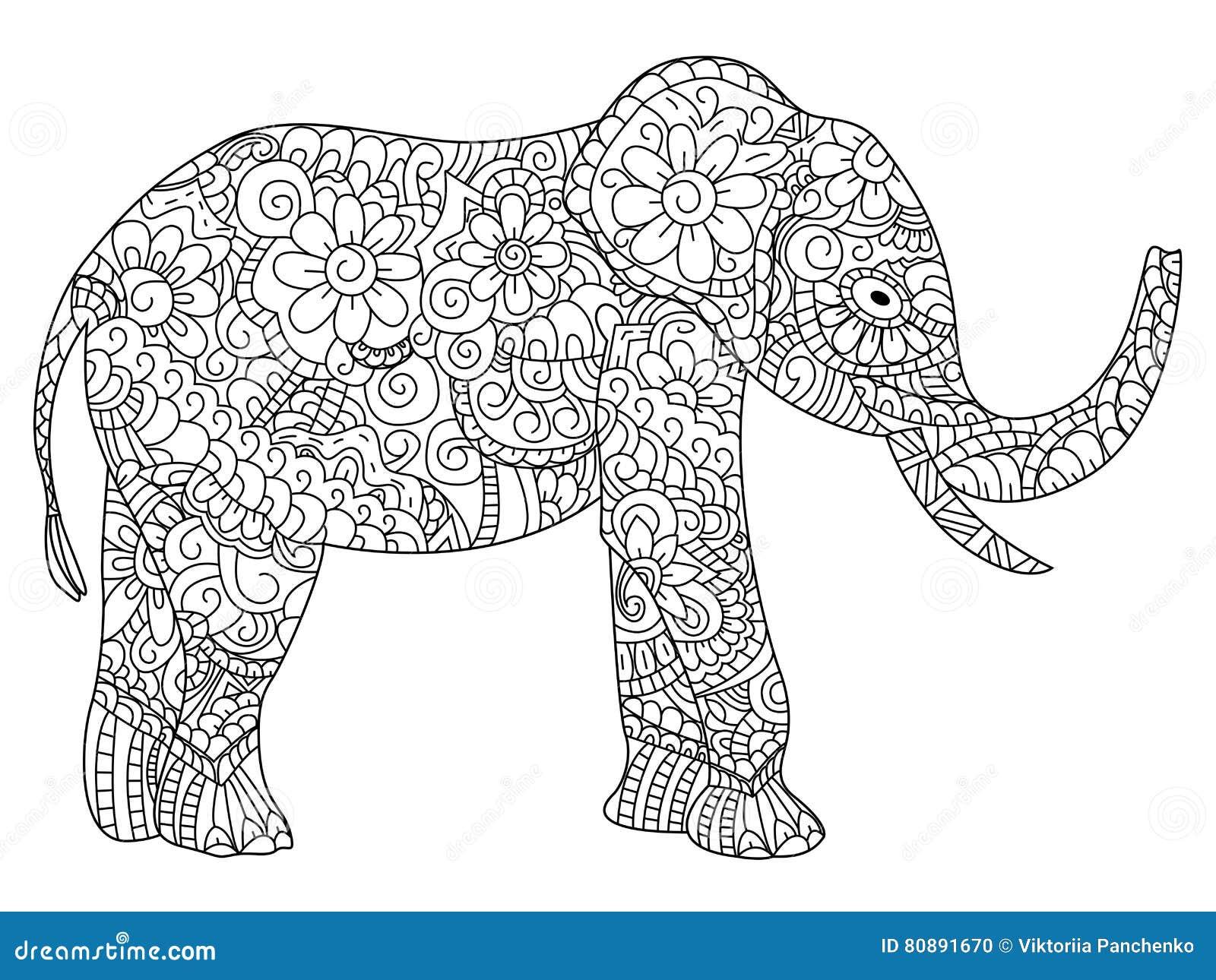 Pagine Da Colorare Per Adulti Libro Modello Astratto: Vettore Del Libro Da Colorare Dell'elefante Per Gli Adulti
