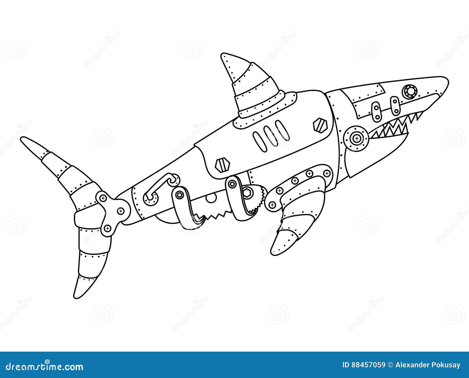 Vettore del libro da colorare dello squalo di stile di for Immagini squali da stampare