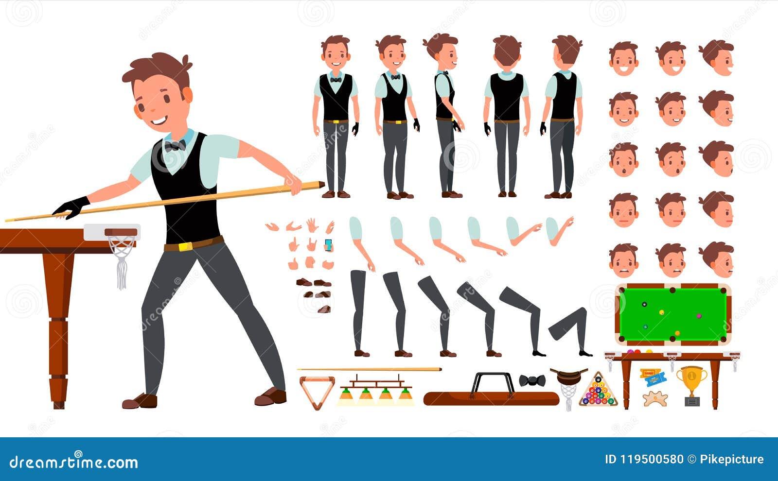 Vettore del maschio del giocatore dello snooker insieme animato della creazione del carattere billiard Uomo integrale, anteriore,