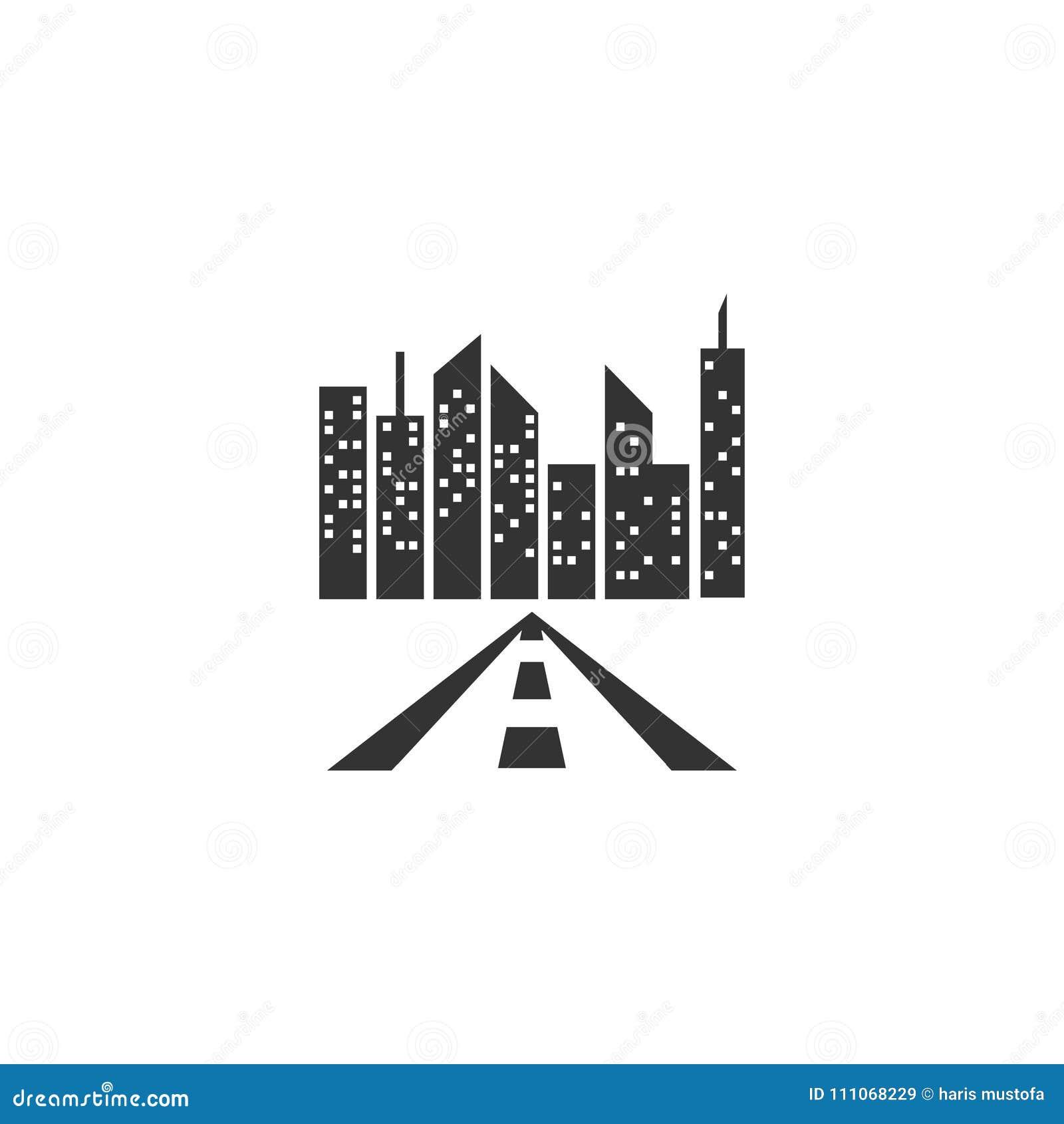 Vettore del modello di logo della costruzione della città e della strada