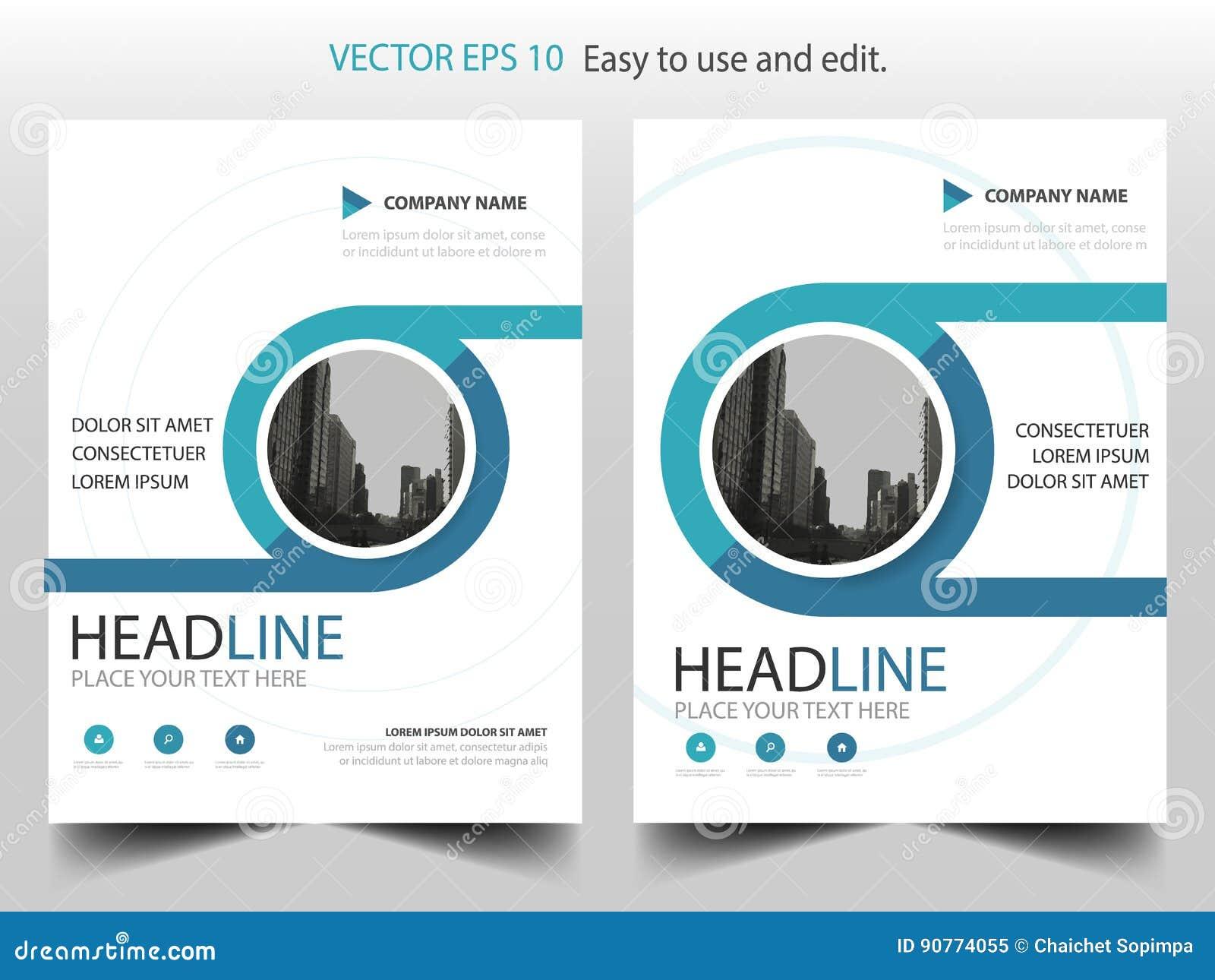 Vettore del modello di progettazione dell opuscolo del rapporto annuale di Blue Circle Manifesto infographic della rivista delle
