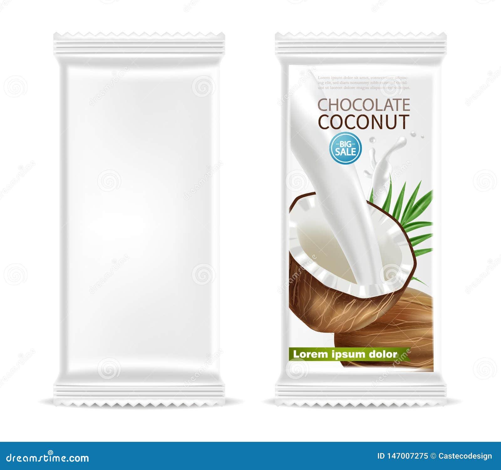 Vettore del modello isolato cioccolato della noce di cocco realistico progettazione d imballaggio dell etichetta del prodotto r