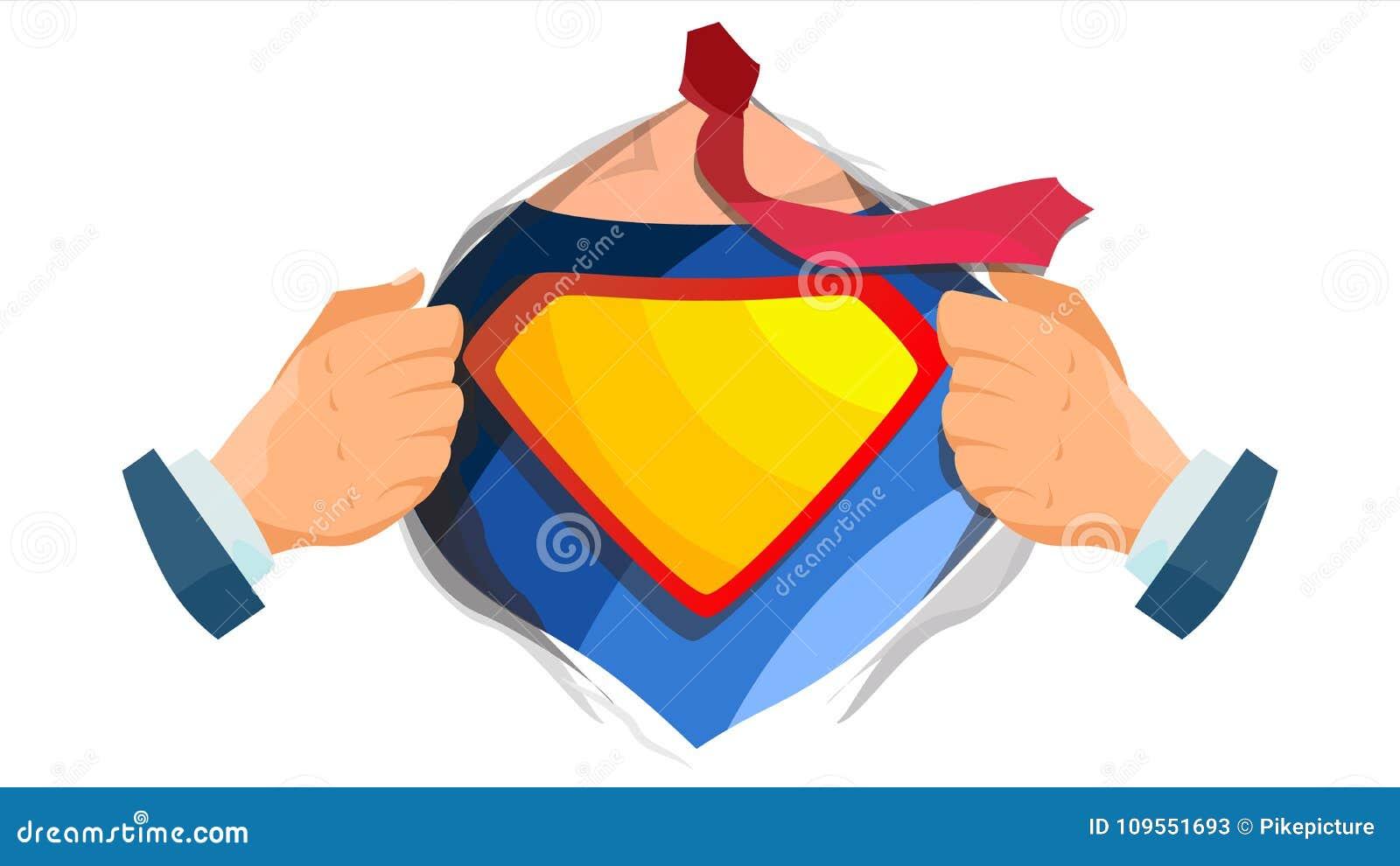 Vettore del segno del supereroe Camicia aperta dell eroe eccellente con il distintivo dello schermo Posto per testo Illustrazione