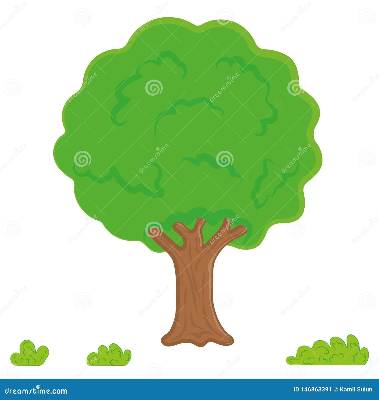 Vettore dell albero, foglie, giardino Albero della foresta o del parco del fumetto, pendenza isolato su fondo bianco