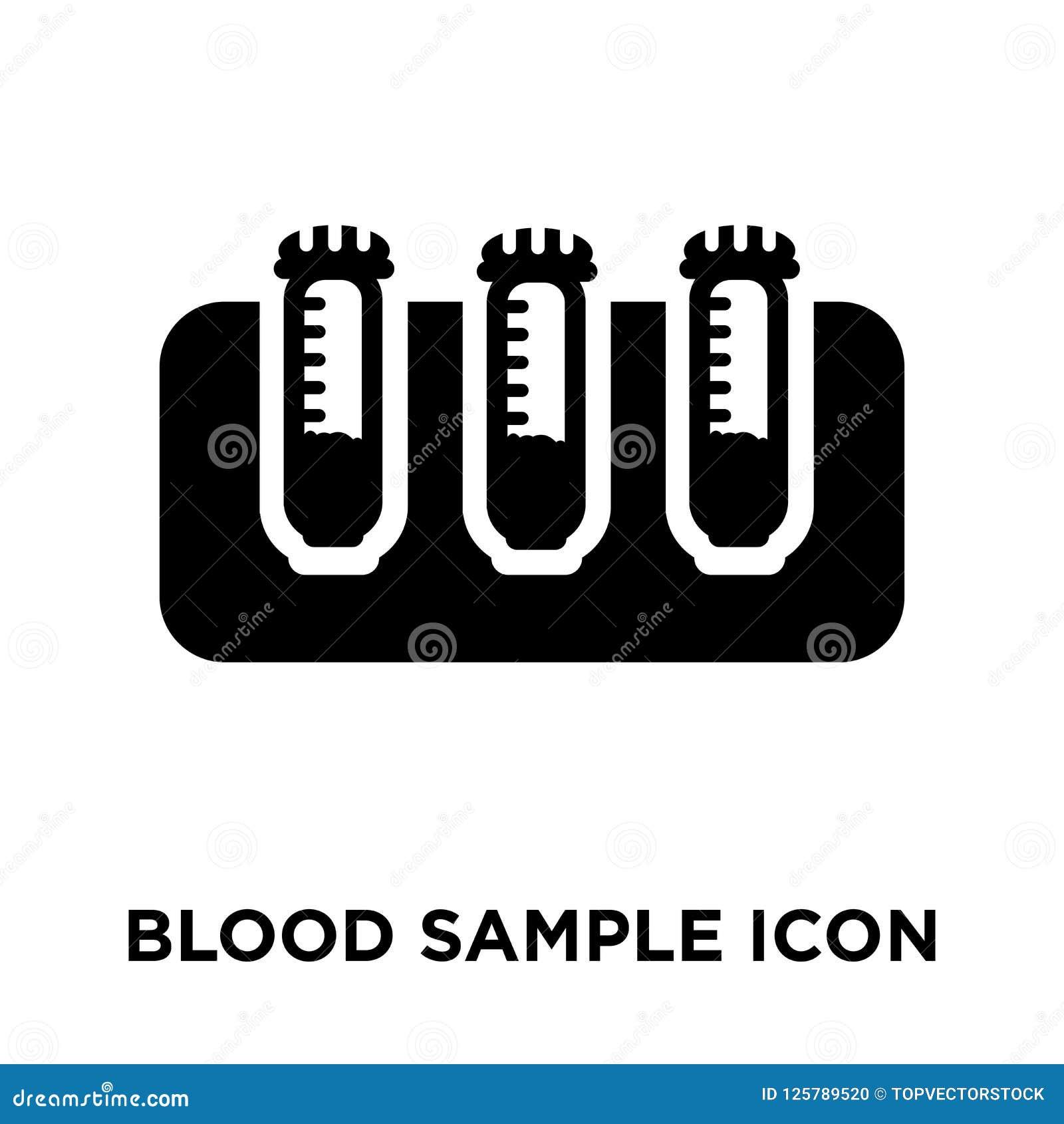 Vettore dell icona del campione di sangue isolato su fondo bianco, logo concentrato