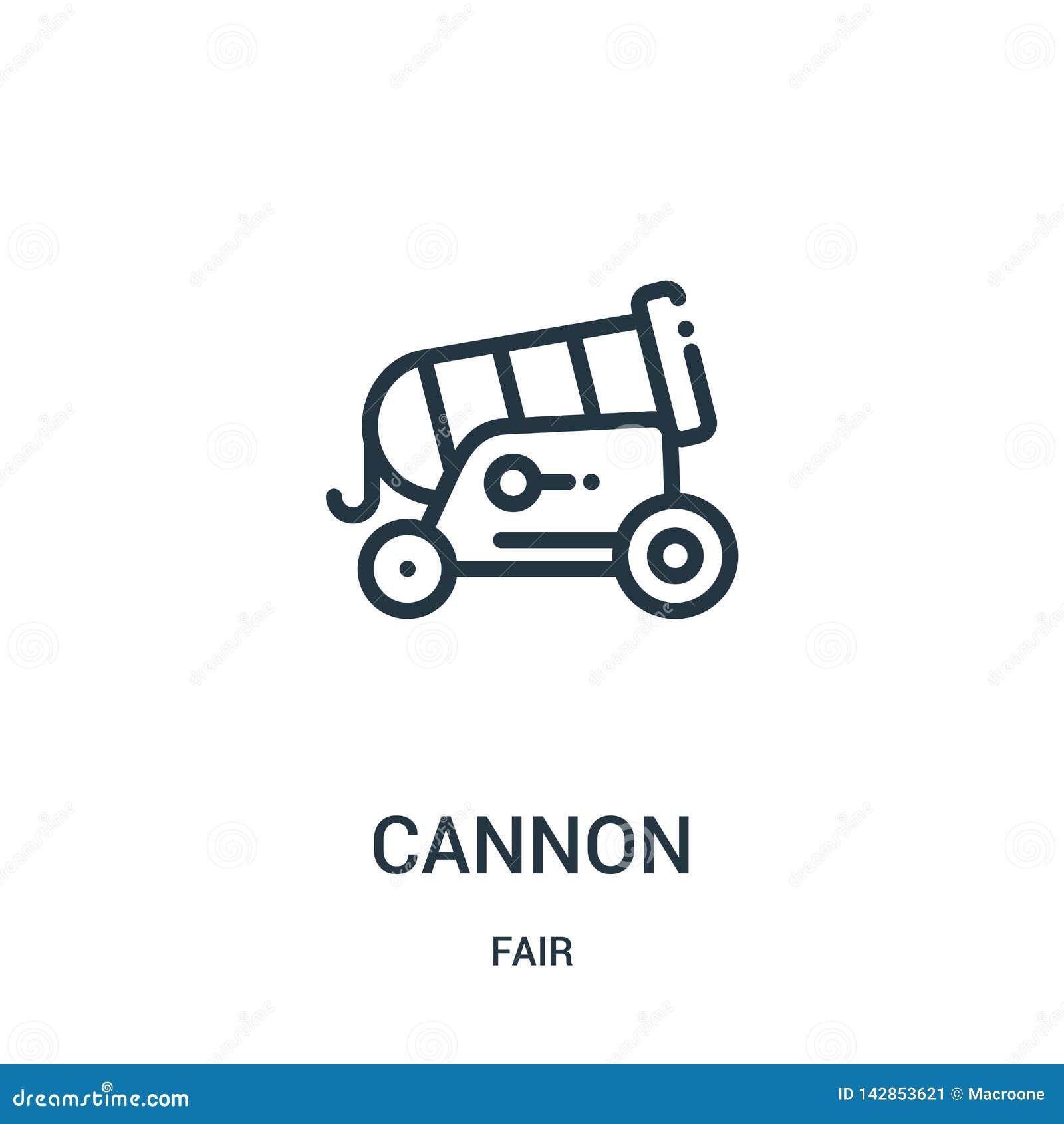 Vettore dell icona del cannone dalla raccolta giusta Linea sottile illustrazione di vettore dell icona del profilo del cannone Si