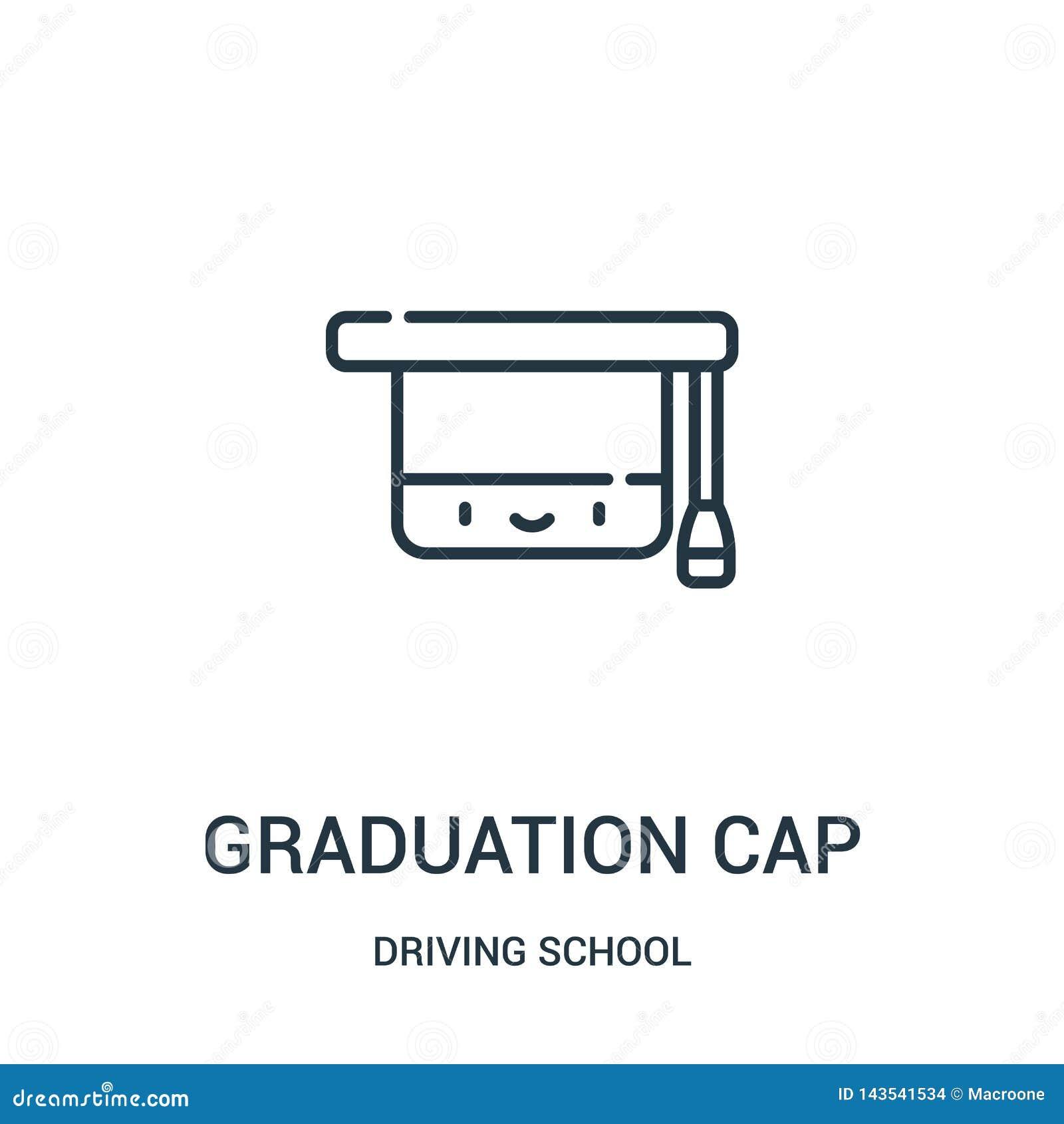 Vettore dell icona del cappuccio di graduazione dalla raccolta della scuola guida Linea sottile illustrazione di vettore dell ico
