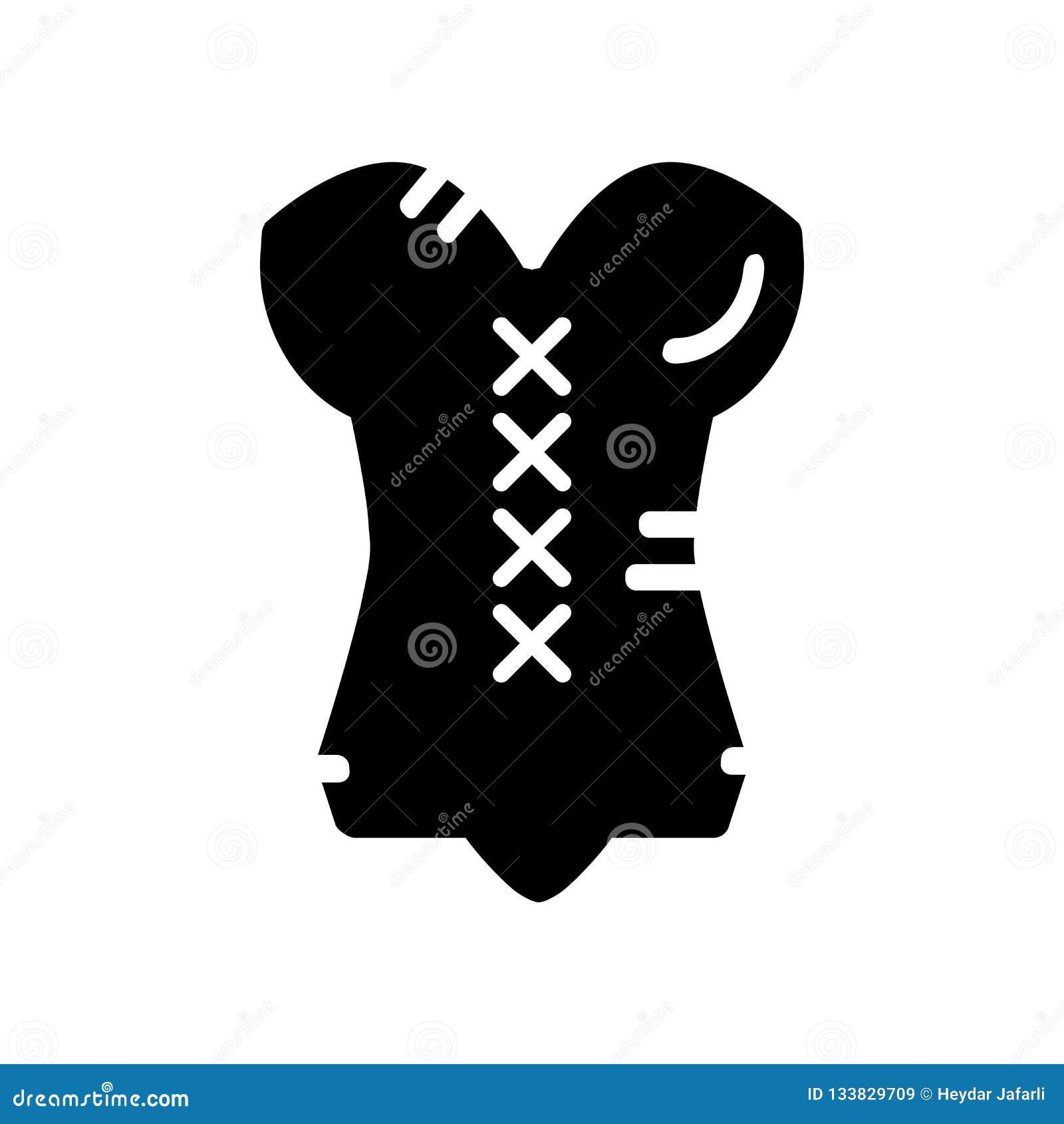 Vettore dell icona del corsetto isolato su fondo bianco, segno del corsetto, b