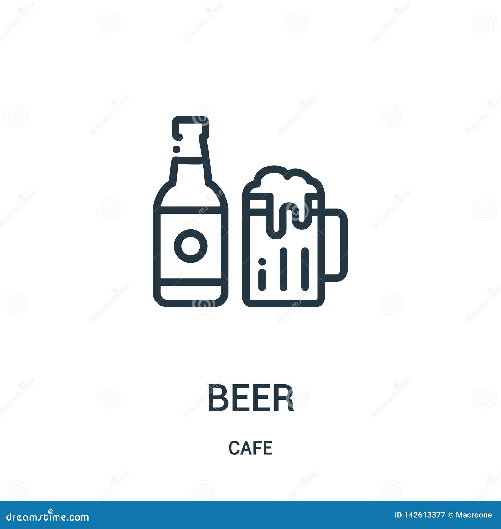 Vettore dell icona della birra dalla raccolta del caff? Linea sottile illustrazione di vettore dell icona del profilo della birra