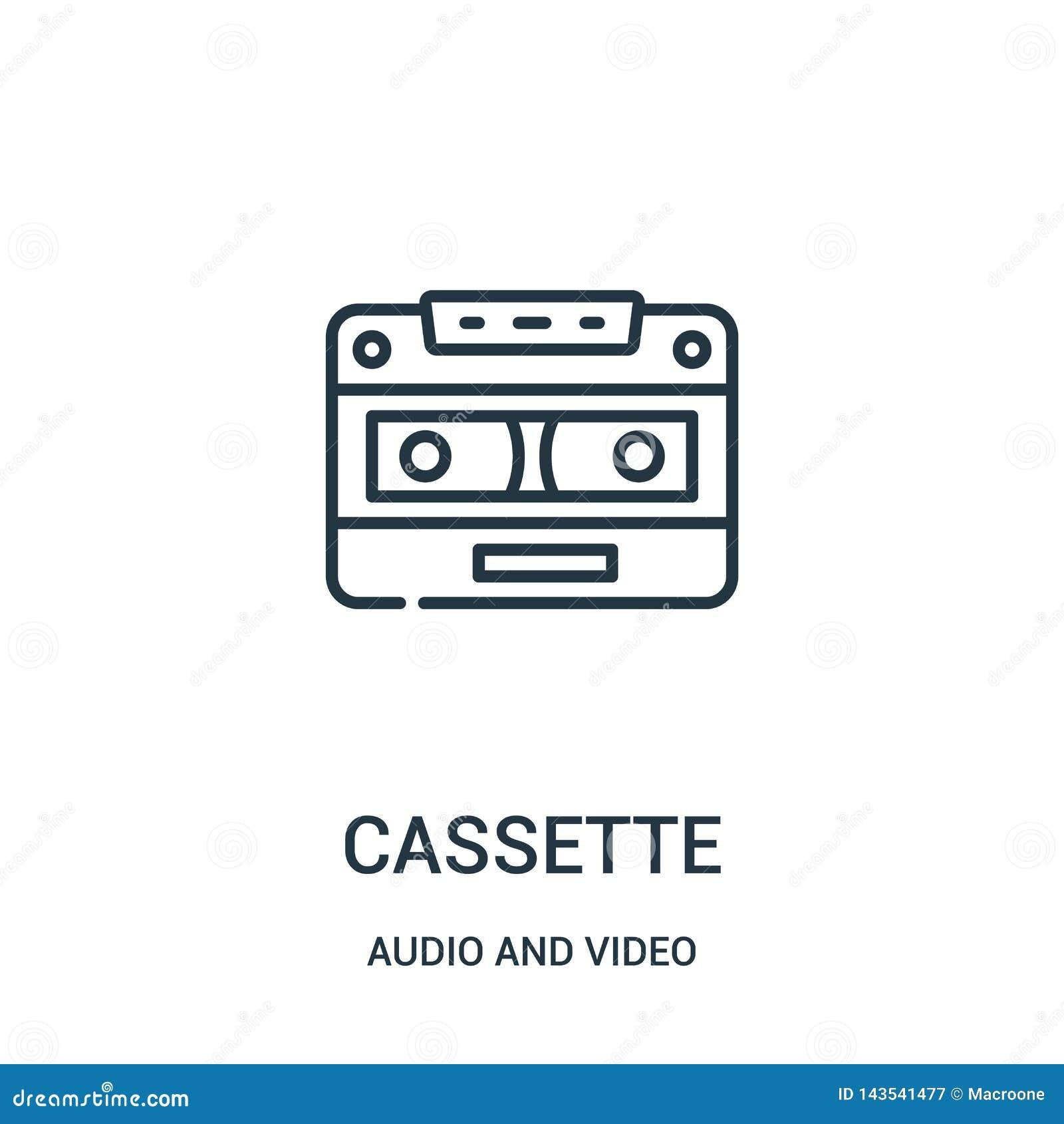 Vettore dell icona della cassetta dall audio e video raccolta Linea sottile illustrazione di vettore dell icona del profilo della