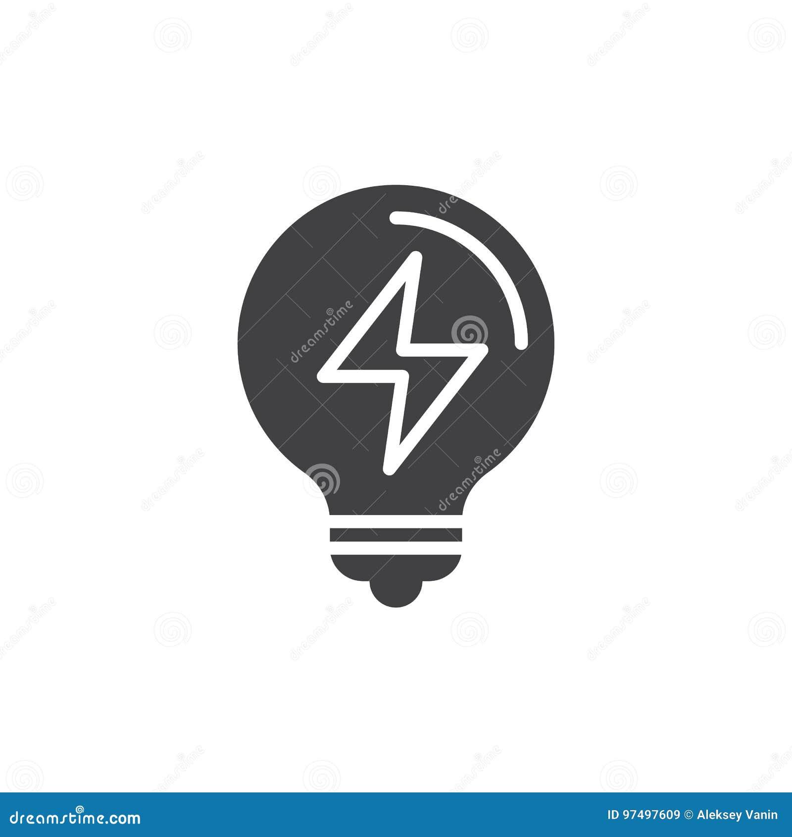Vettore dell icona della lampadina, segno piano riempito