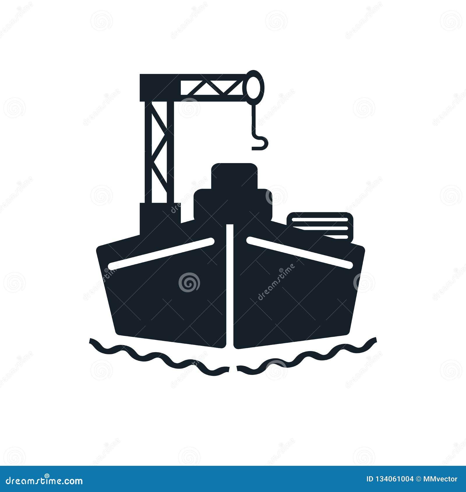Vettore dell icona della nave da carico isolato su fondo bianco, segno della nave da carico